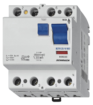 1 Stk FI-Schalter 63A, 4-polig, 100mA, vorsicherungsfest, Typ AC BC006610--