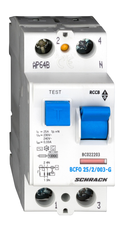 1 Stk FI-Schalter, 25A, 2-polig, 30mA,Bauart G, Typ AC BC022203--