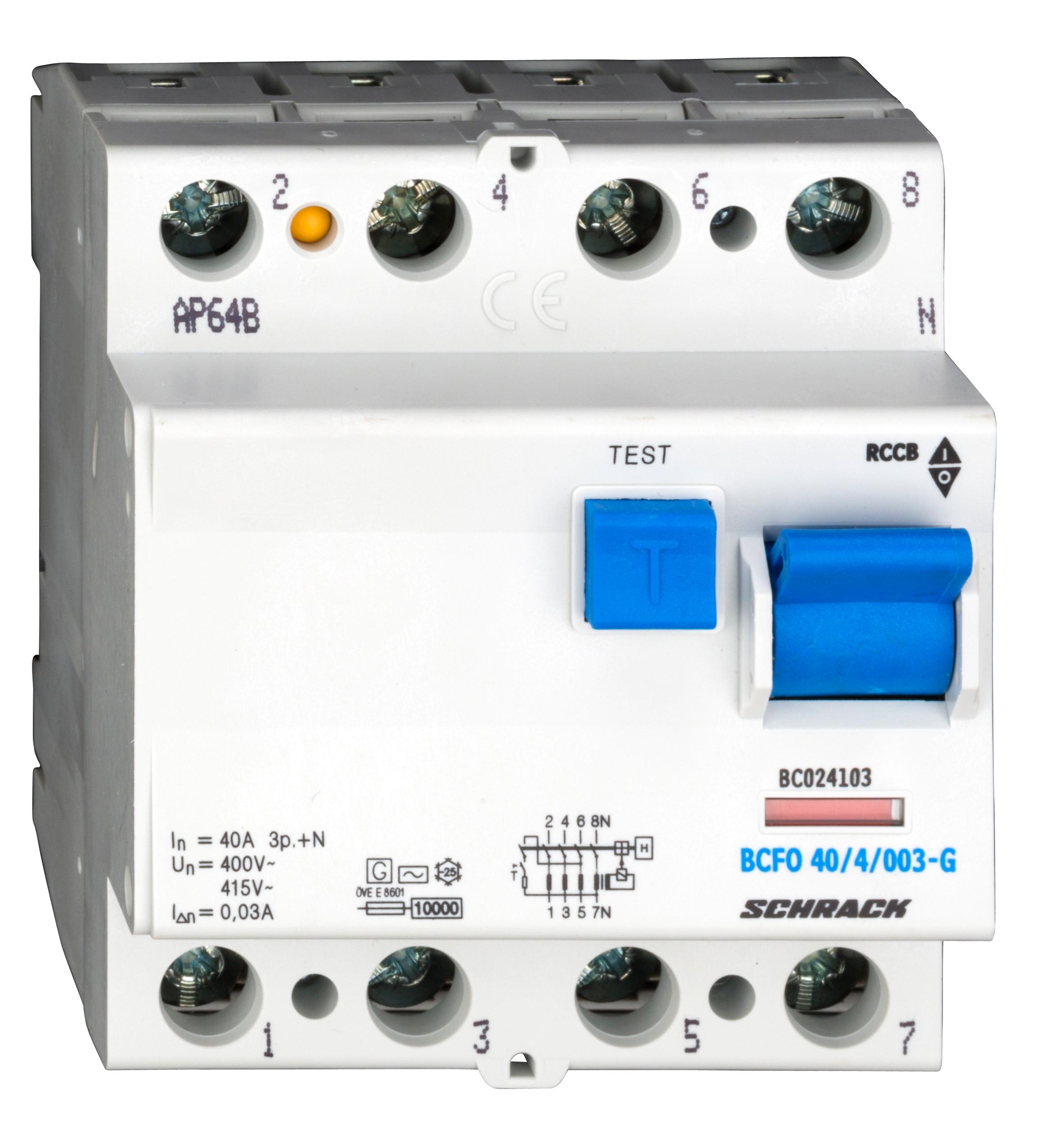 1 Stk FI-Schalter, 40A, 4-polig, 30mA, Bauart G, Typ AC BC024103--