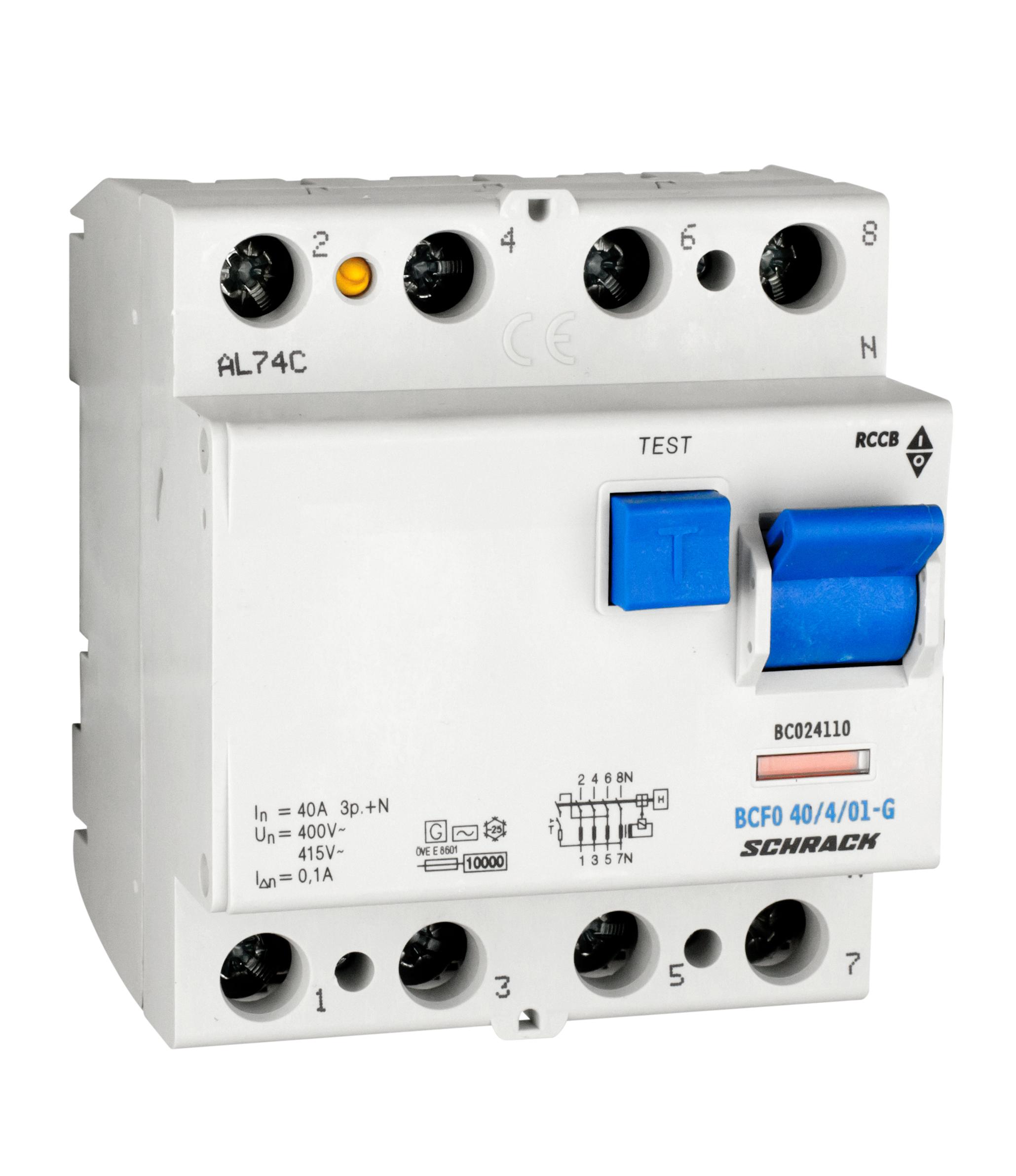 1 Stk FI-Schalter, 40A, 4-polig, 100mA, Bauart G, Typ AC BC024110--