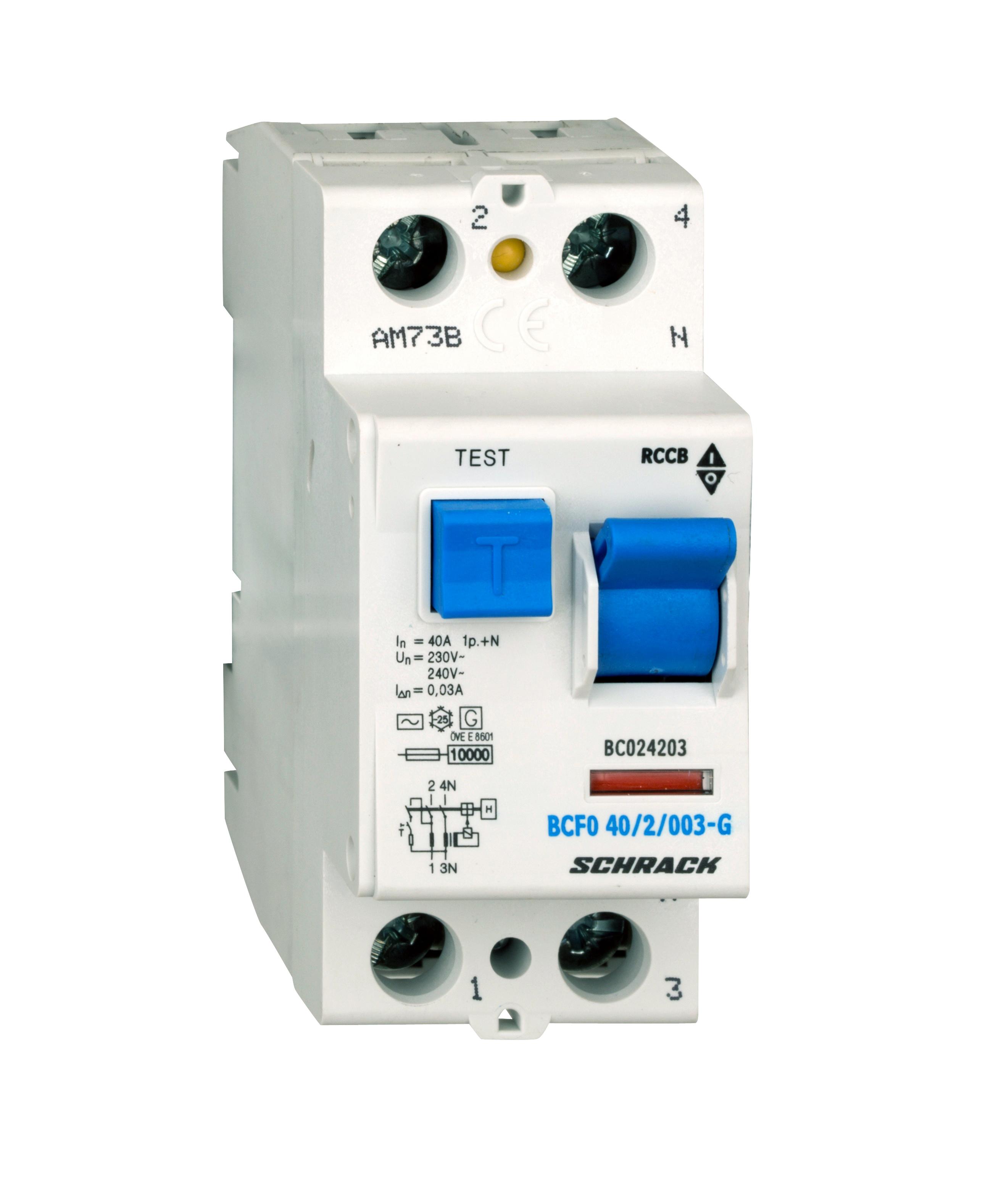 1 Stk FI-Schalter, 40A, 2-polig, 30mA, Bauart G, Typ AC BC024203--
