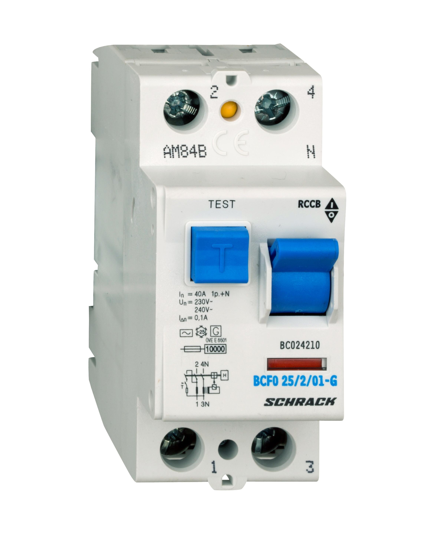1 Stk FI-Schalter, 40A, 2-polig, 100mA, Bauart G, Typ AC BC024210--