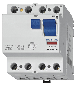 1 Stk FI-Schalter, 63A, 4-polig, 100mA, Bauart G, Typ AC BC026110--