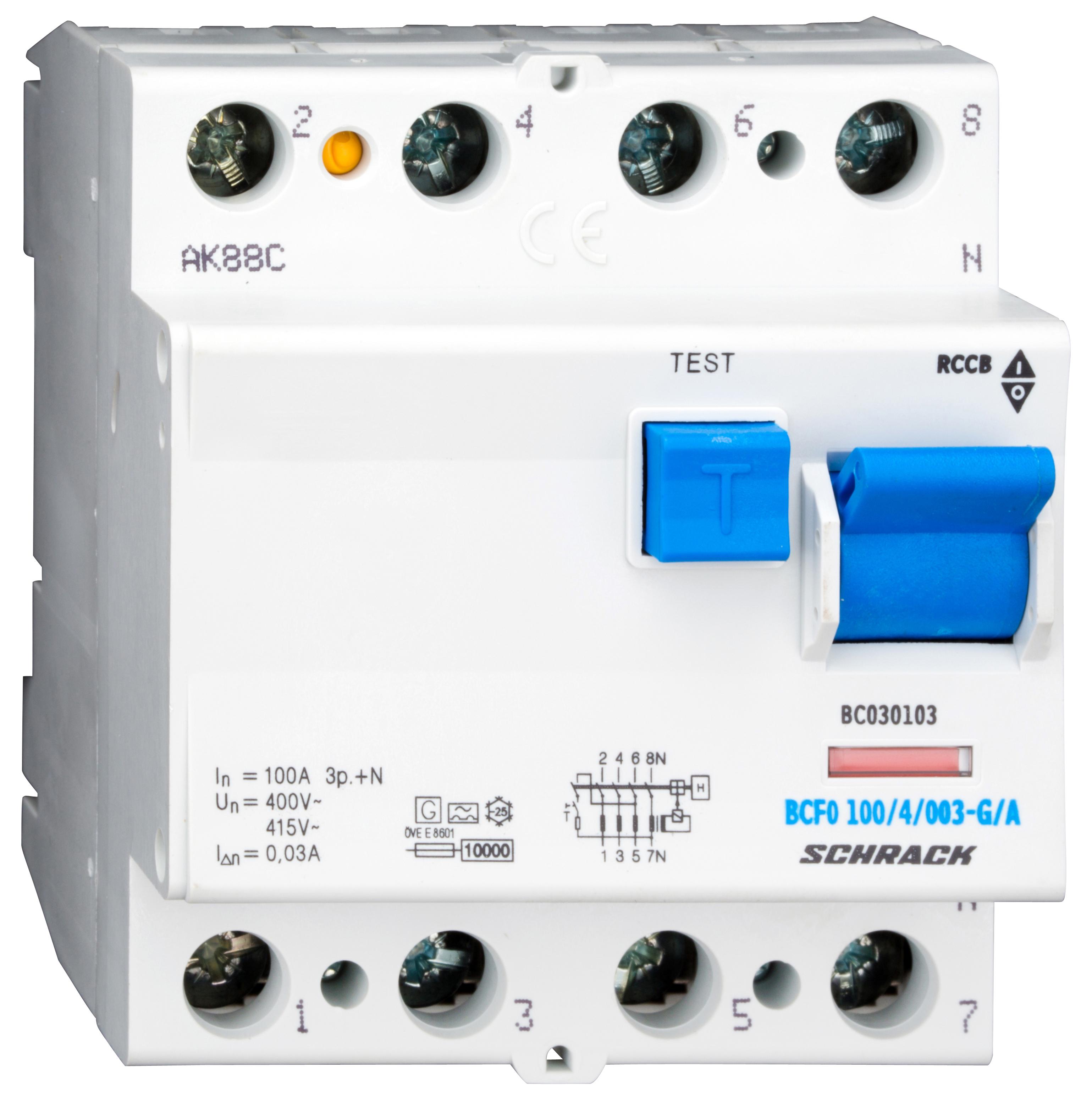 1 Stk FI-Schalter, 100A, 4-polig, 30mA, Bauart G, Typ A (Puls) BC030103--