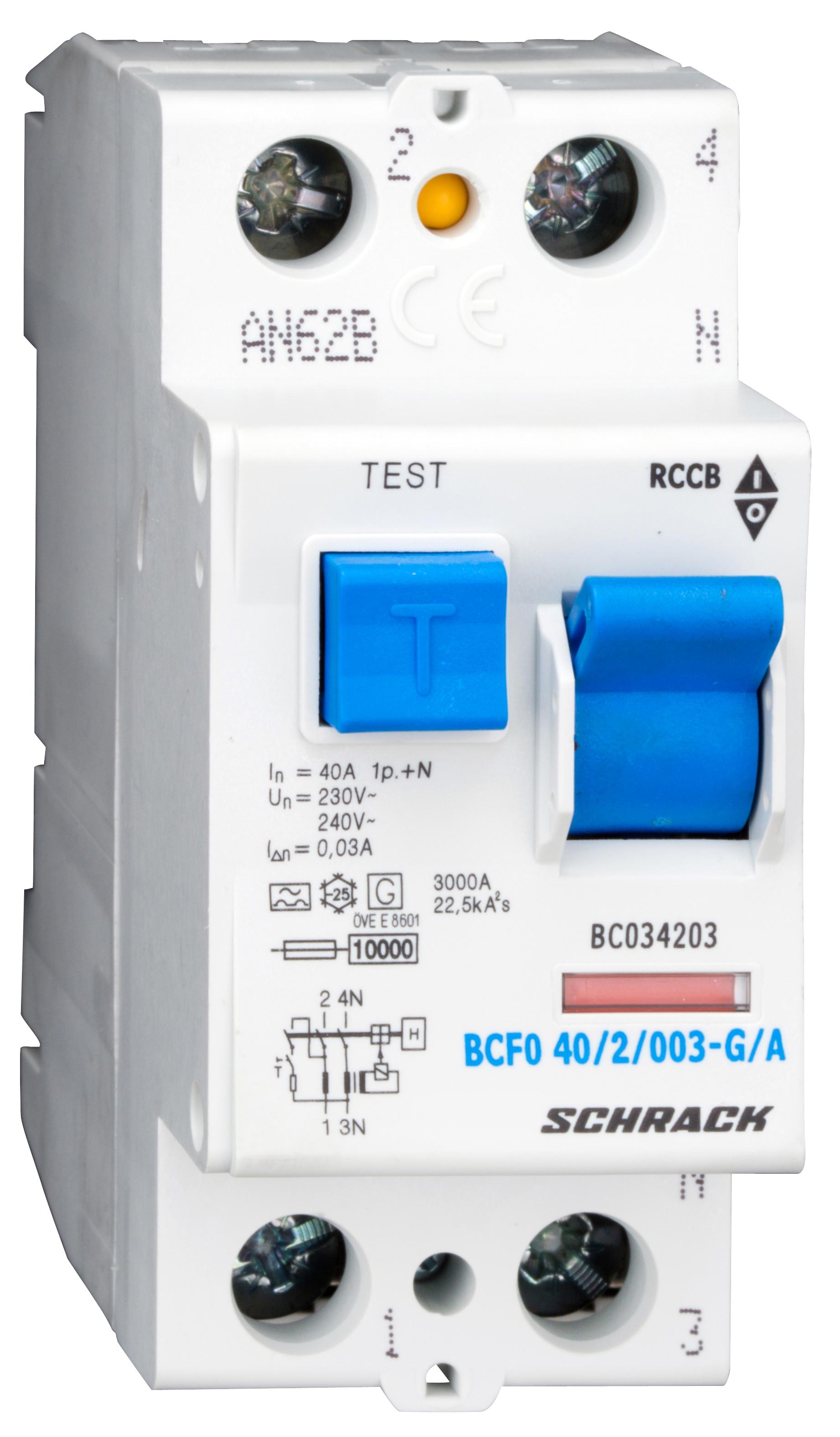 1 Stk FI-Schalter, 40A, 2-polig, 30mA, Bauart G, Typ A (Puls) BC034203--