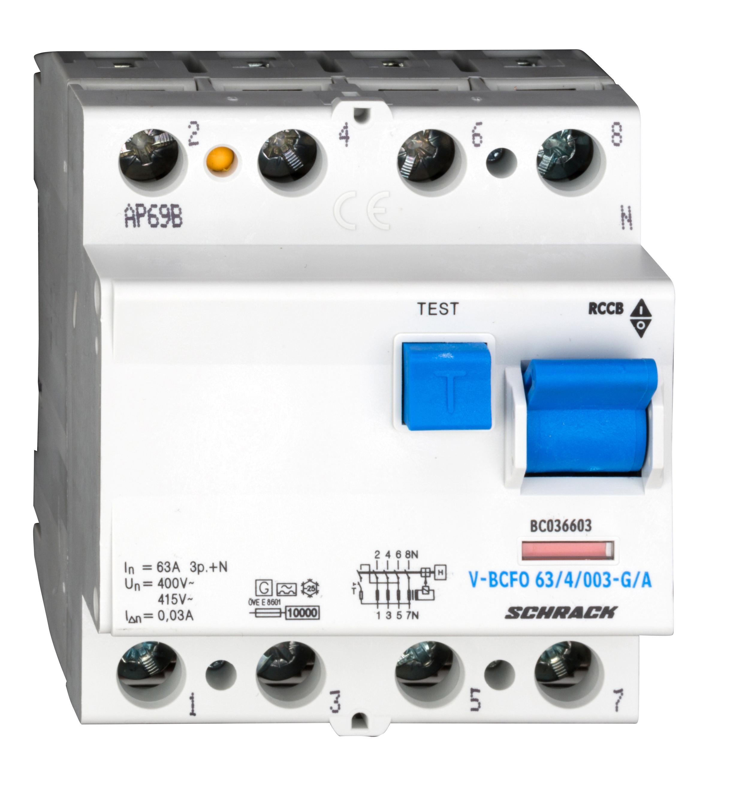 1 Stk FI-Schalter, 63A, 4-polig, 30mA, vsf., Bauart G, Typ A BC036603--