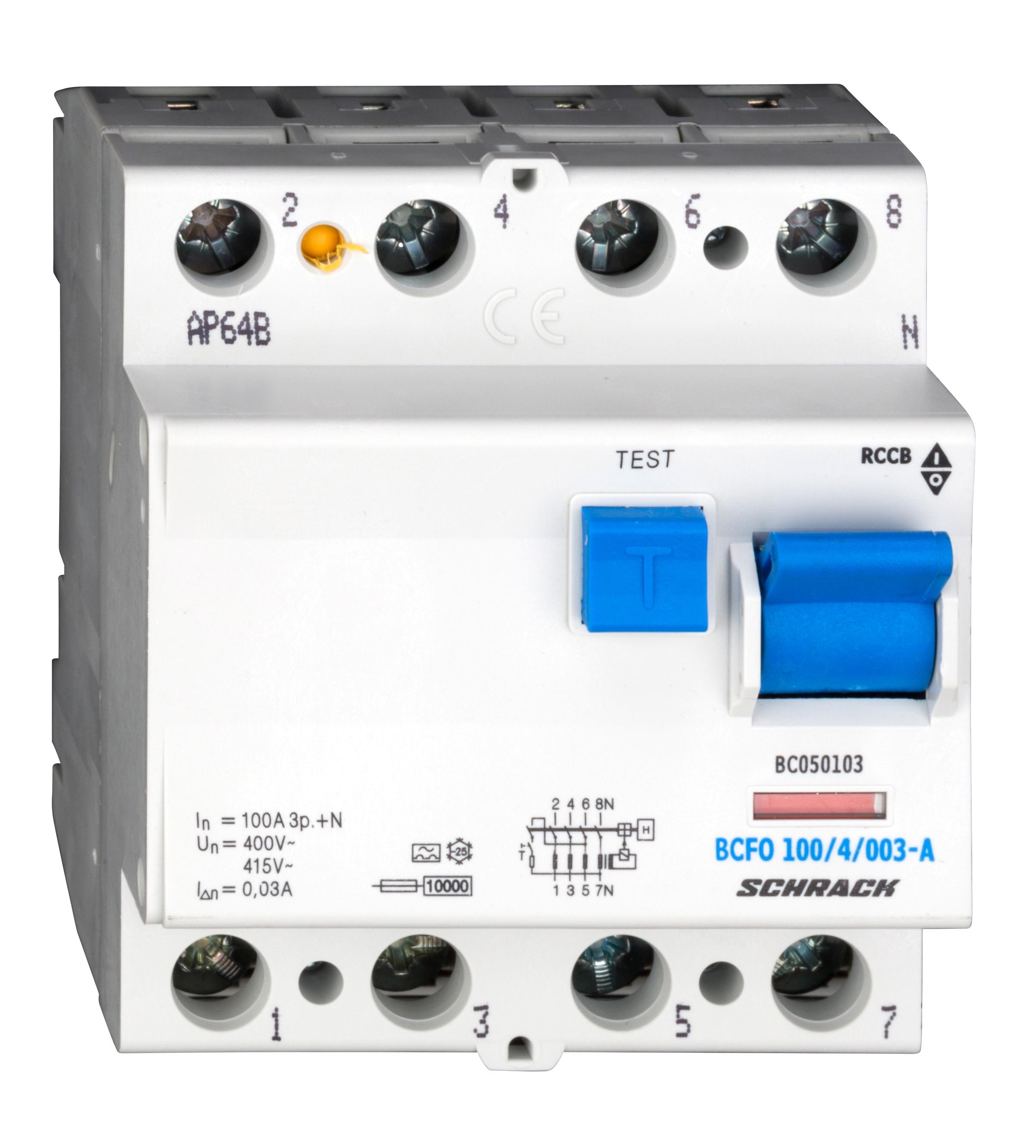 1 Stk FI-Schalter, 100A, 4-polig, 30mA, Typ A (Puls) BC050103--