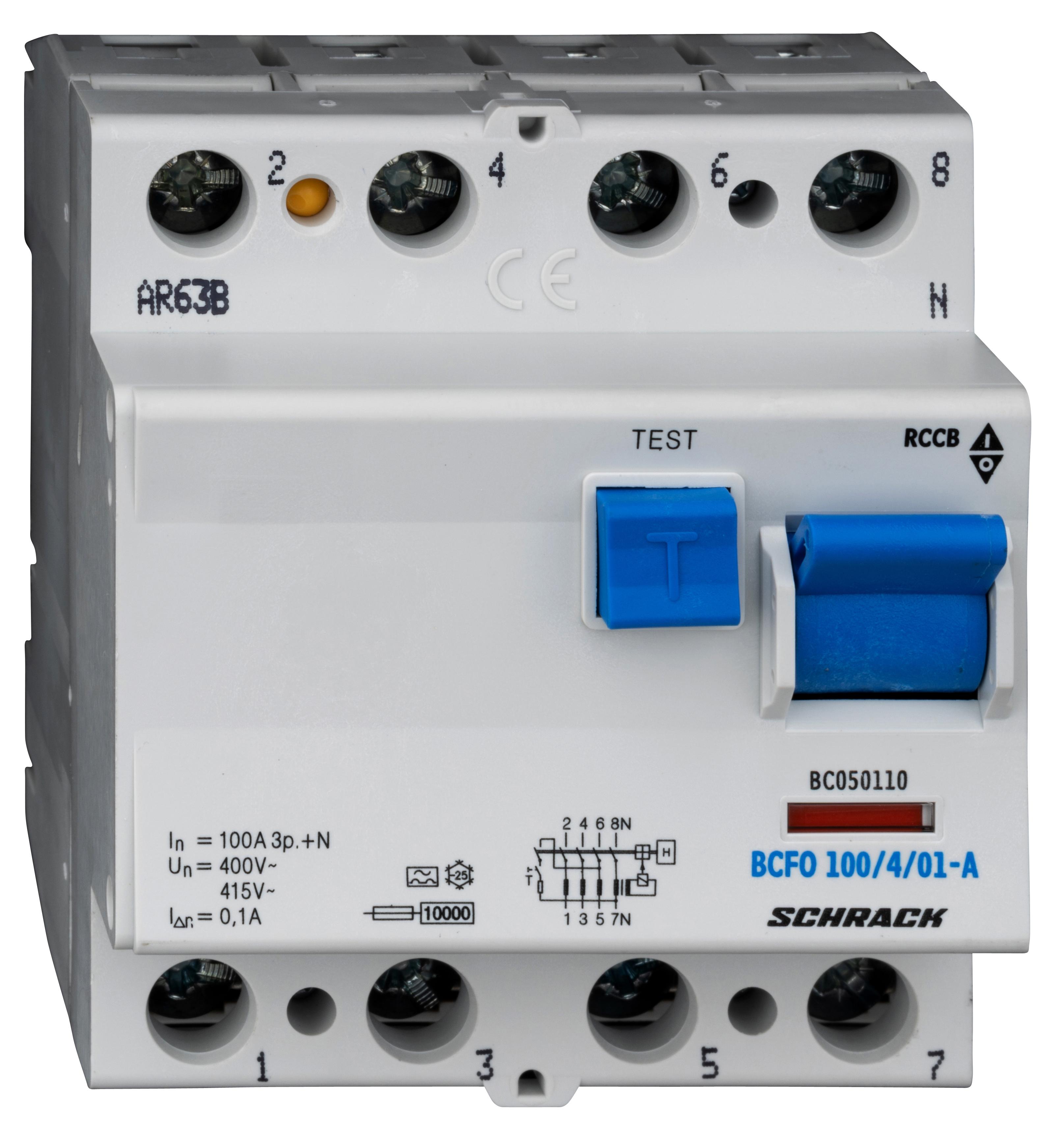 1 Stk FI-Schalter, 100A, 4-polig, 100mA, Typ A (Puls) BC050110--