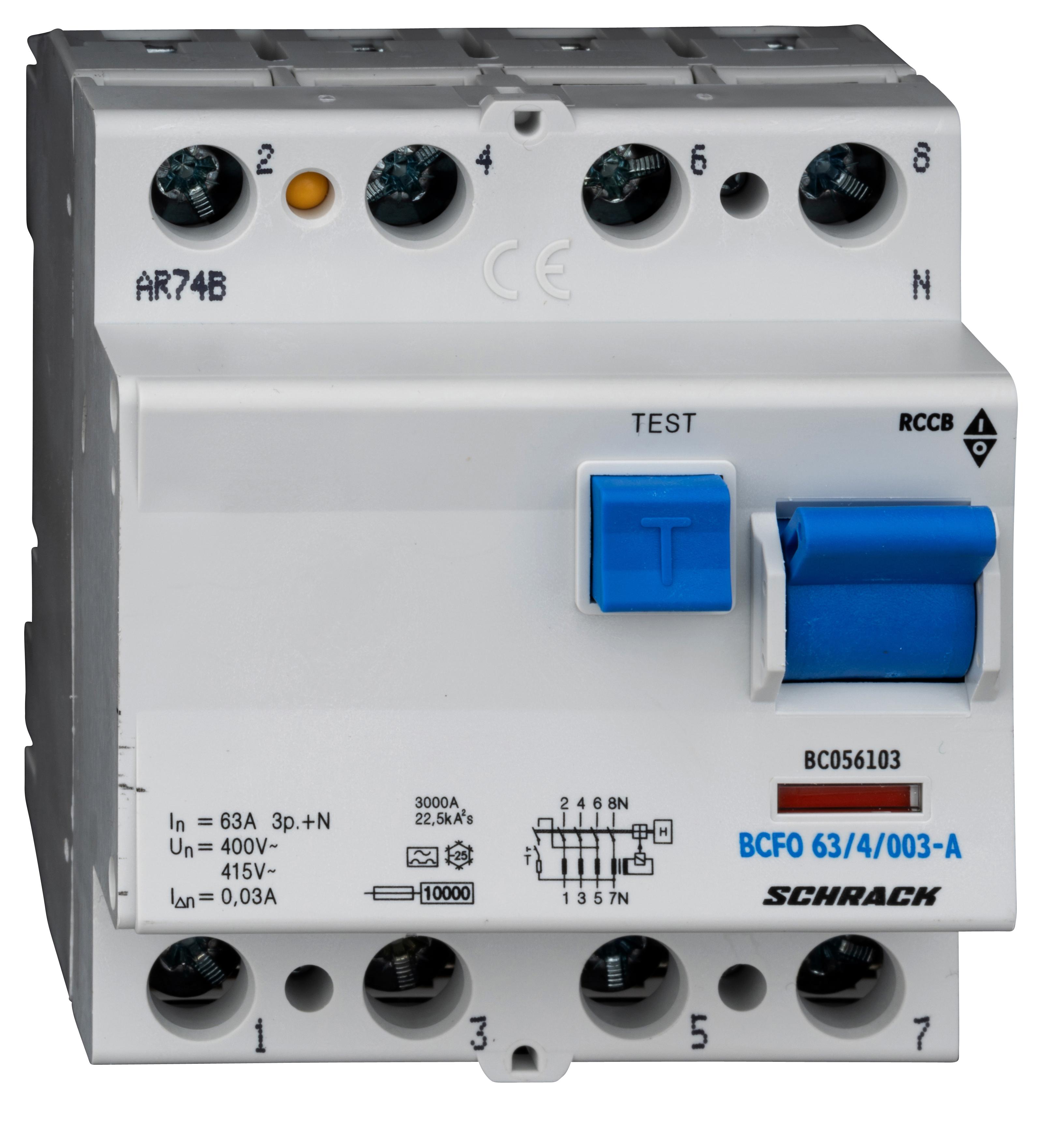 1 Stk FI-Schalter, 63A, 4-polig, 30mA, Typ A (Puls) BC056103--