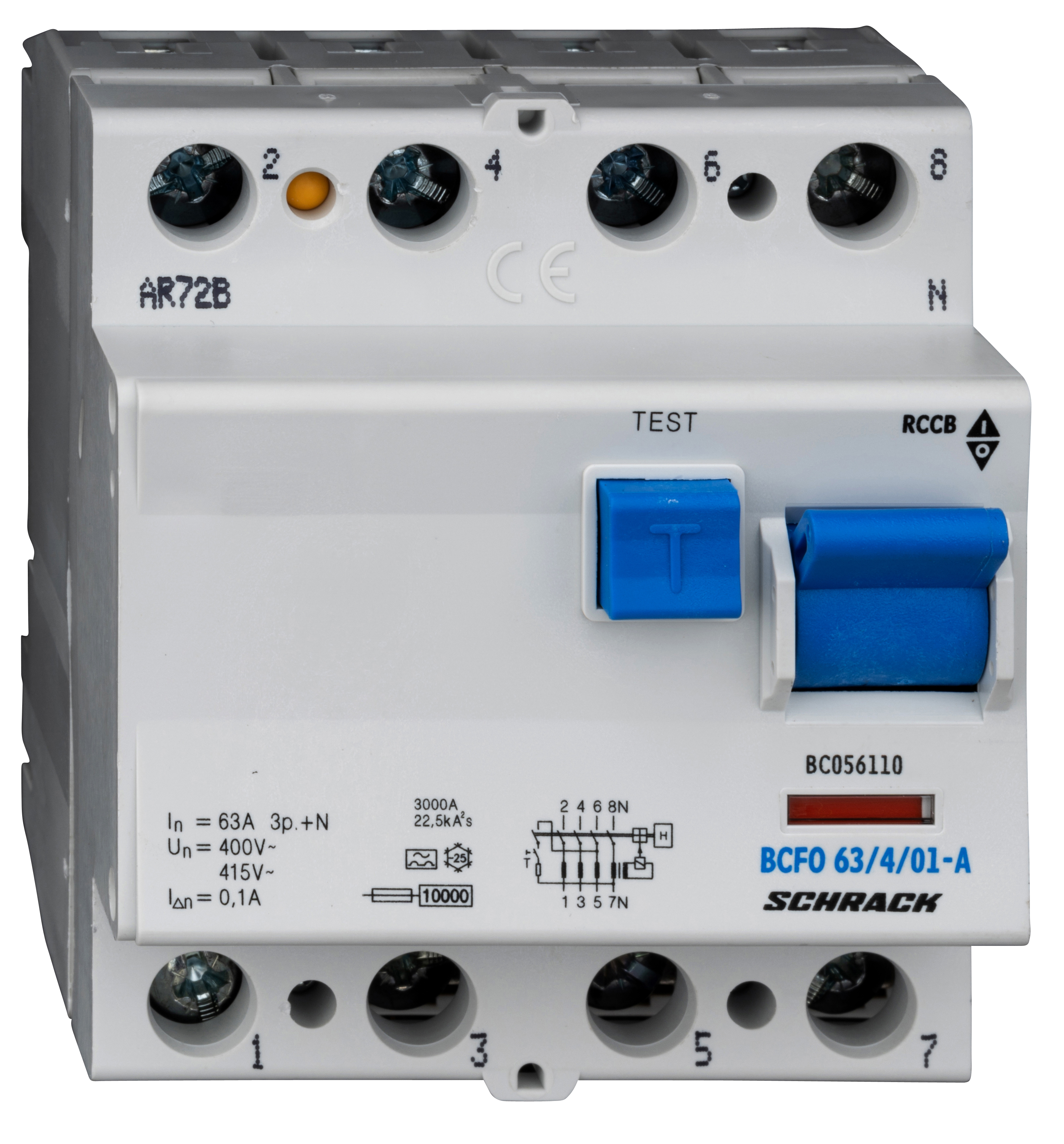 1 Stk FI-Schalter, 63A, 4-polig, 100mA, Typ A (Puls) BC056110--