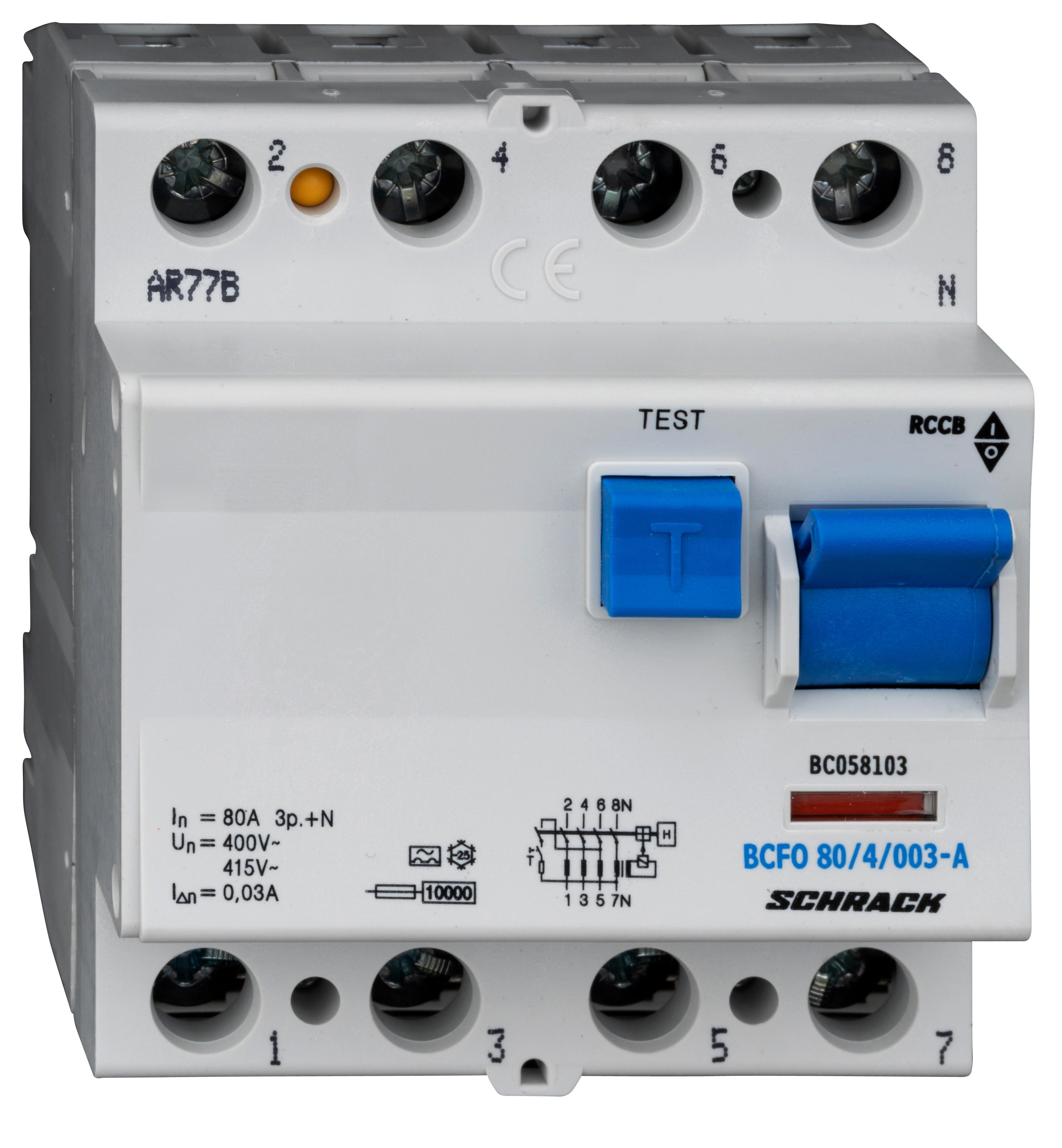1 Stk FI-Schalter, 80A, 4-polig, 30mA, Typ A (Puls) BC058103--