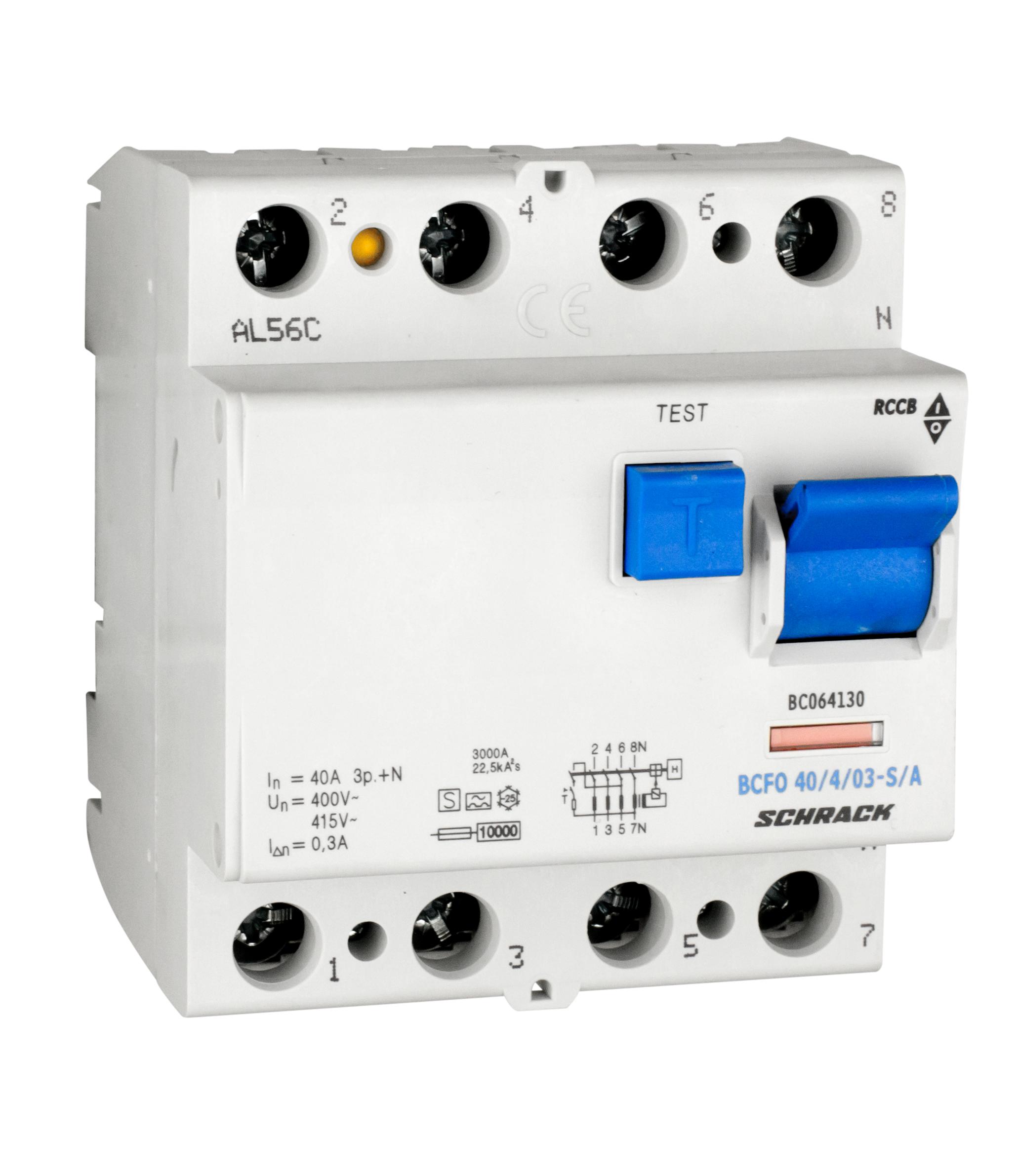 1 Stk FI-Schalter, 40A, 4-polig, 300mA, Bauart S, Typ A (Puls) BC064130--