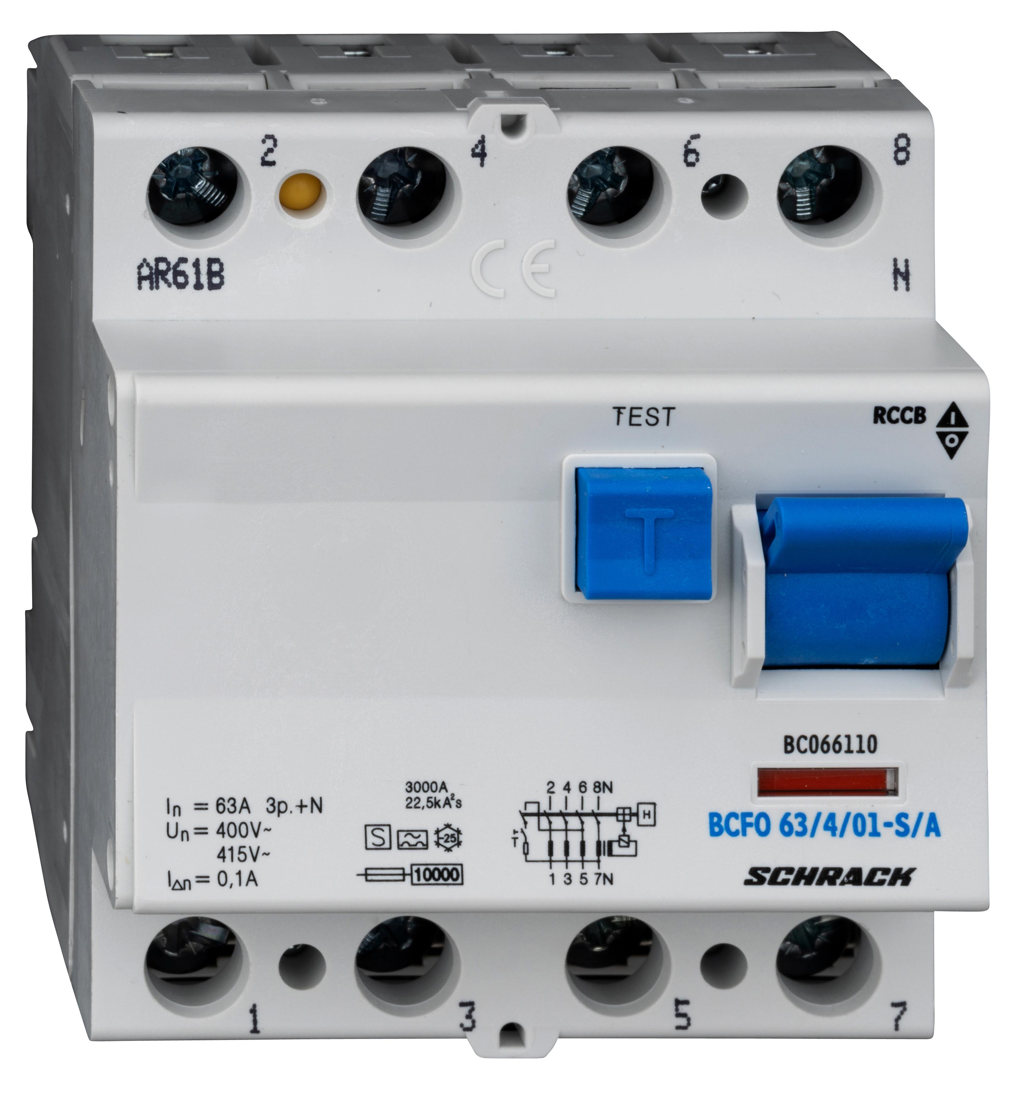 1 Stk FI-Schalter, 63A, 4-polig, 100mA, Bauart S, Typ A (Puls) BC066110--