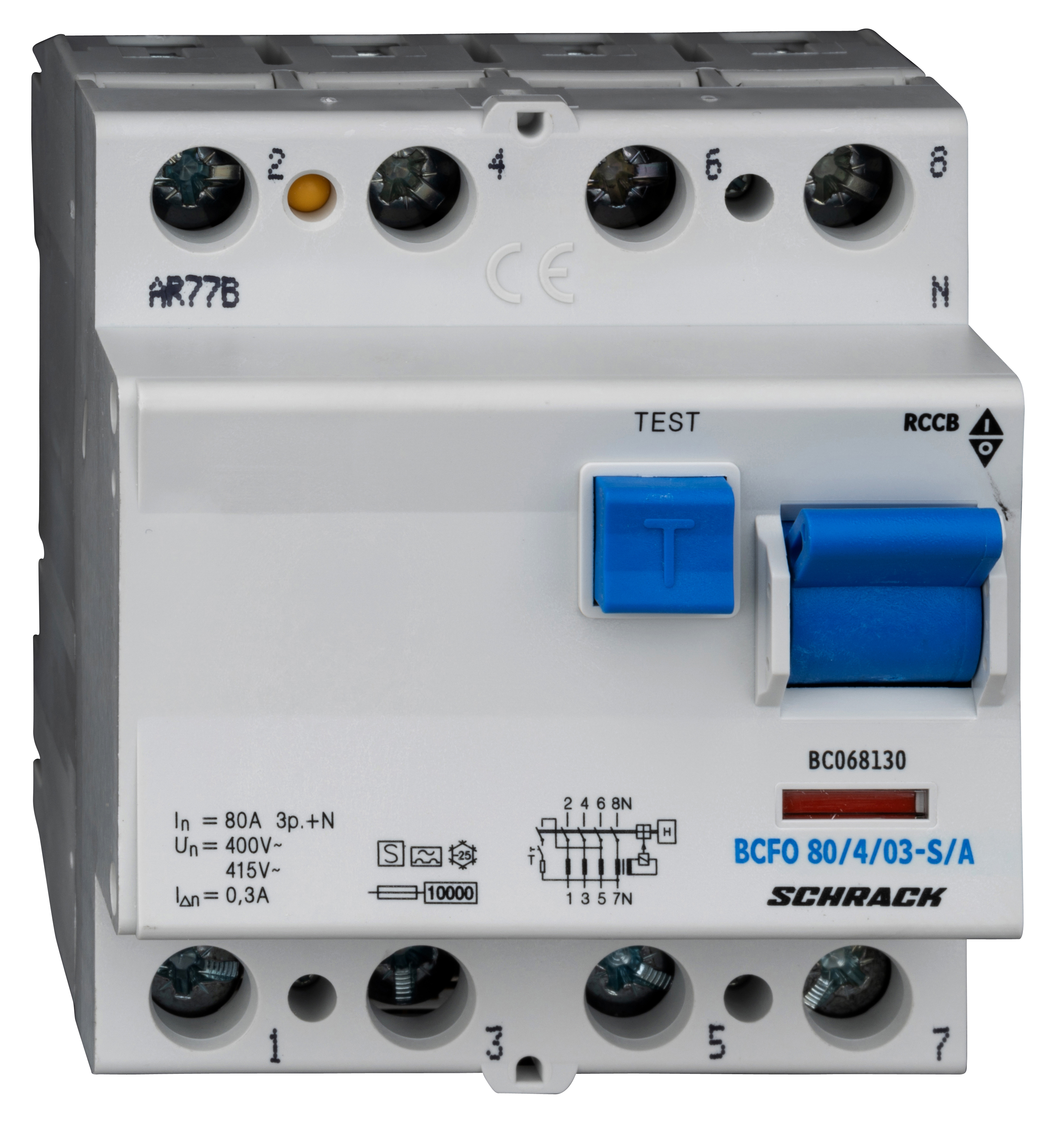 1 Stk FI-Schalter, 80A, 4-polig, 300mA, Bauart S, Typ A (Puls) BC068130--