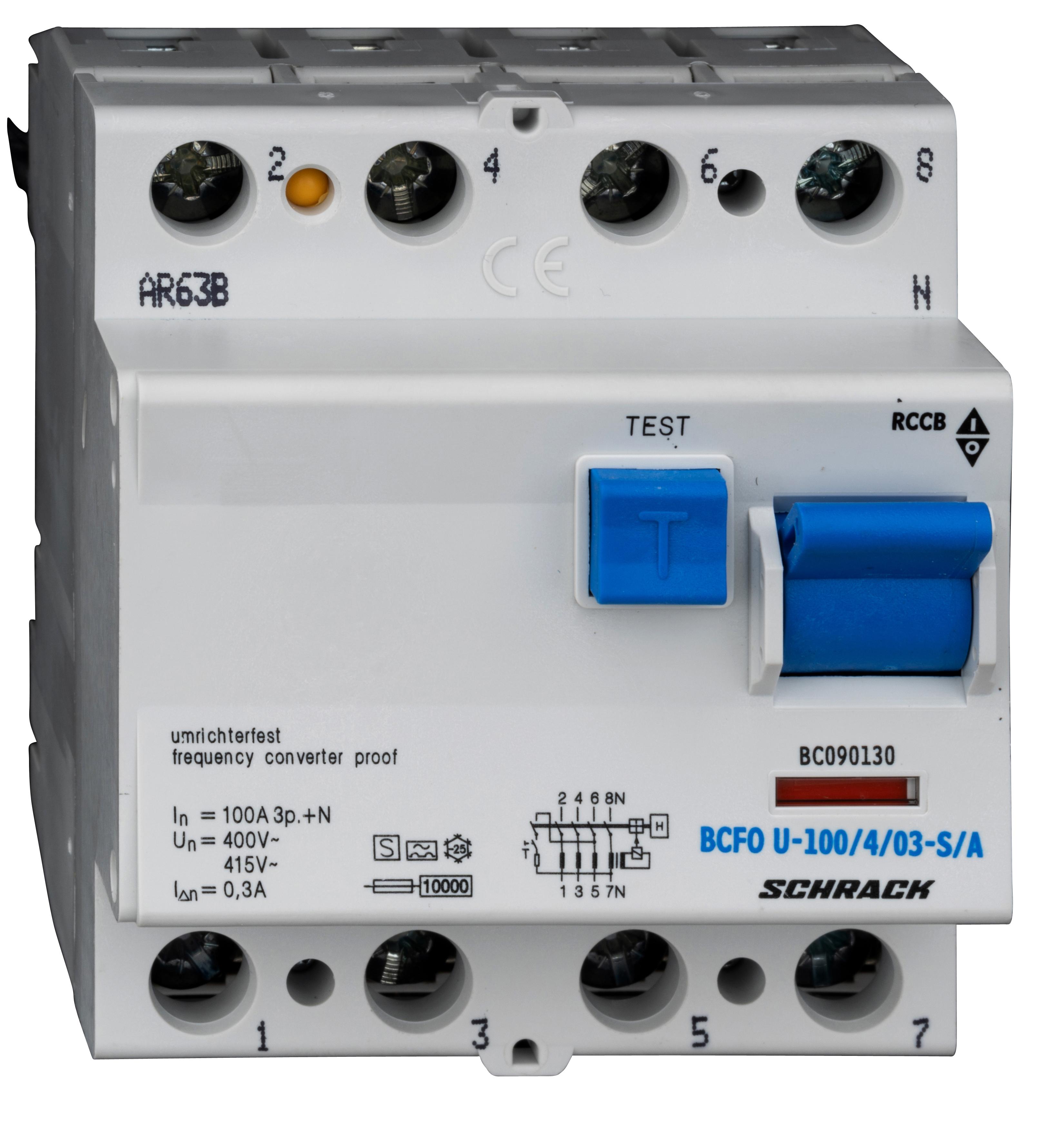 1 Stk FI-Schalter, FU fest, 100A, 4-polig, 300mA, Bauart S, Typ A BC090130--