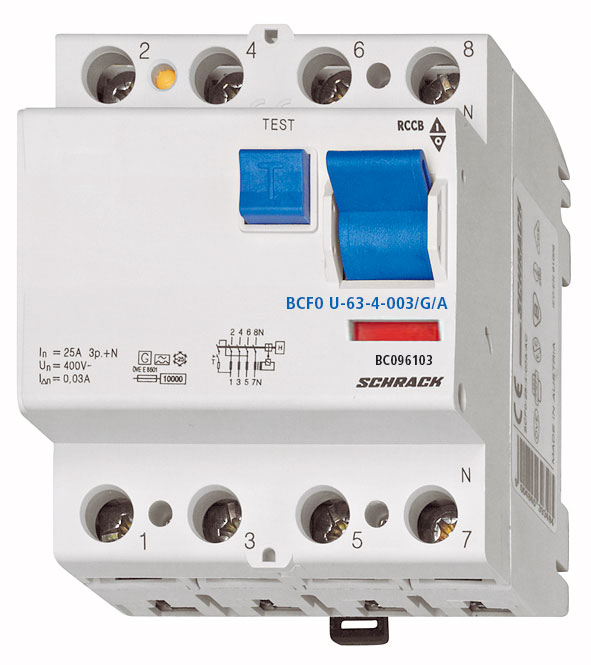 1 Stk FI-Schalter, FU fest, 63A, 4-polig, 30mA, Bauart G, Typ A BC096103--