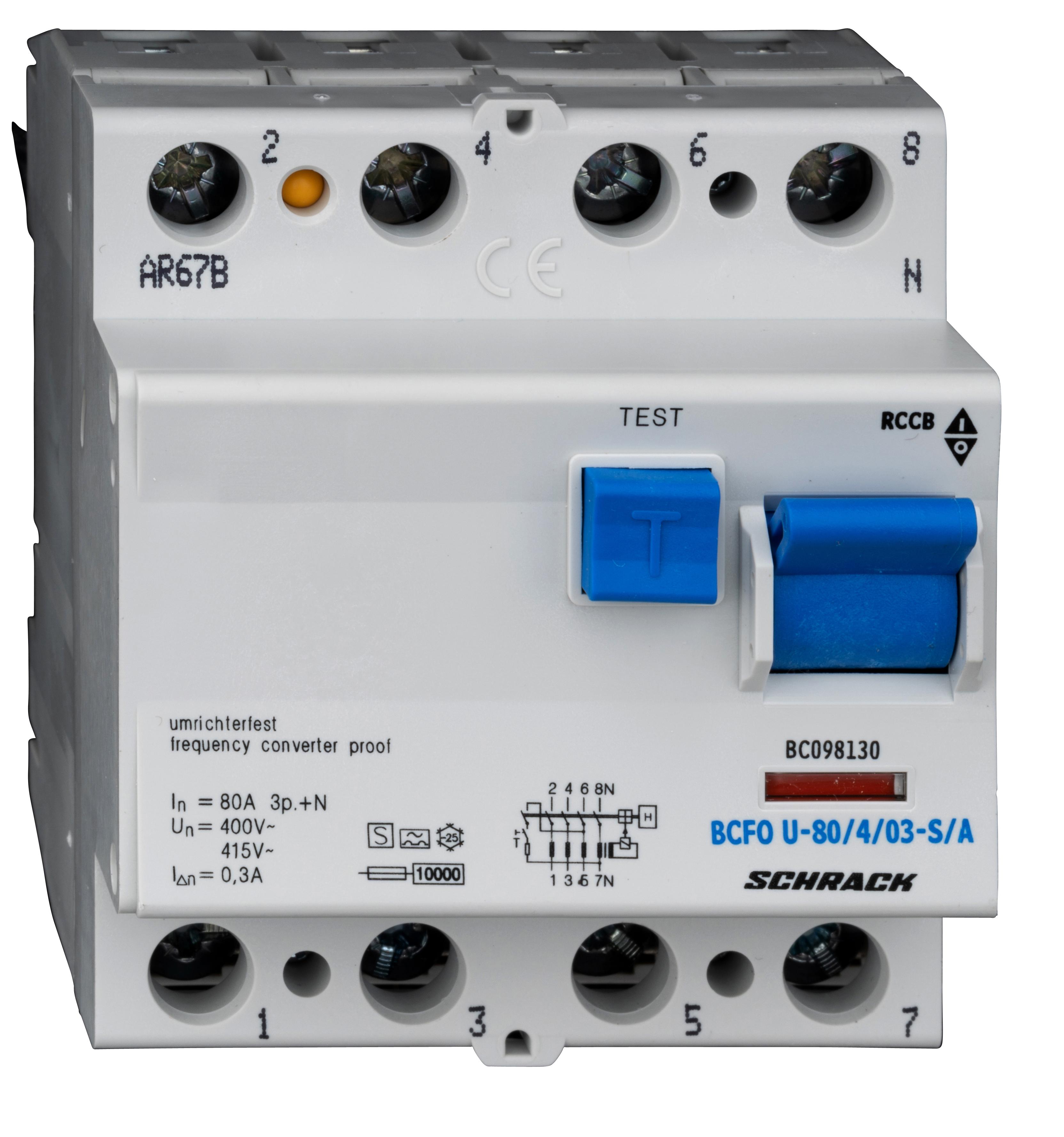1 Stk FI-Schalter, FU fest, 80A, 4-polig, 300mA, Bauart S, Typ A BC098130--