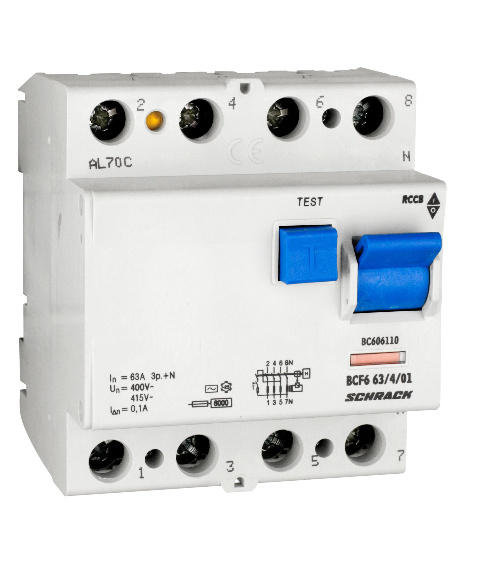 Wyłącznik różnicowoprądowy 63A/3+n/100mA/typ AC,6kA