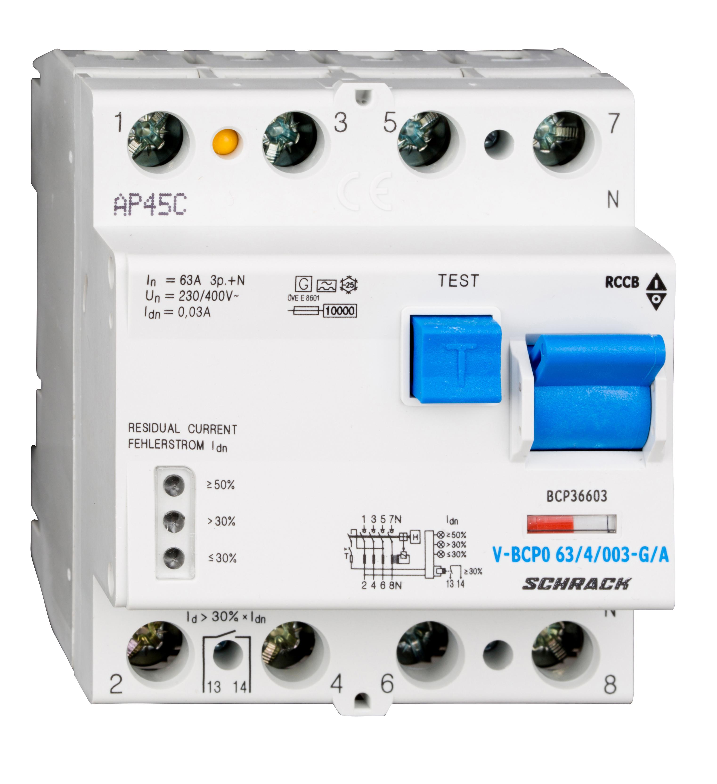 1 Stk PRIORI FI-Schalter 63A, 4-polig, 30mA, vsf, Bauart G, Typ A BCP36603--
