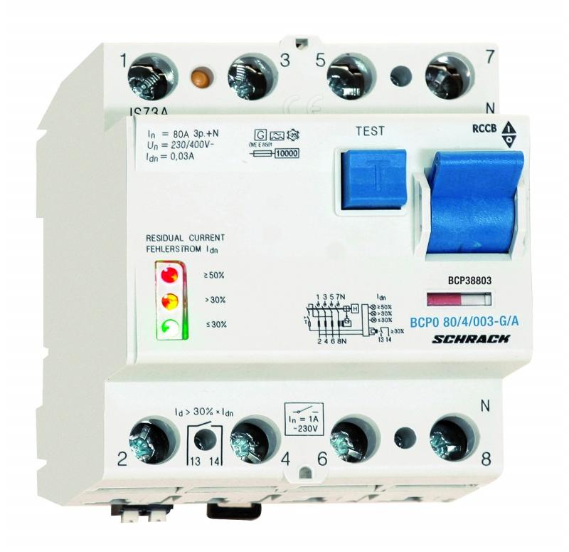 1 Stk PRIORI FI-Schalter 80A, 4-polig, 30mA, vsf, Bauart G, Typ A BCP38803--