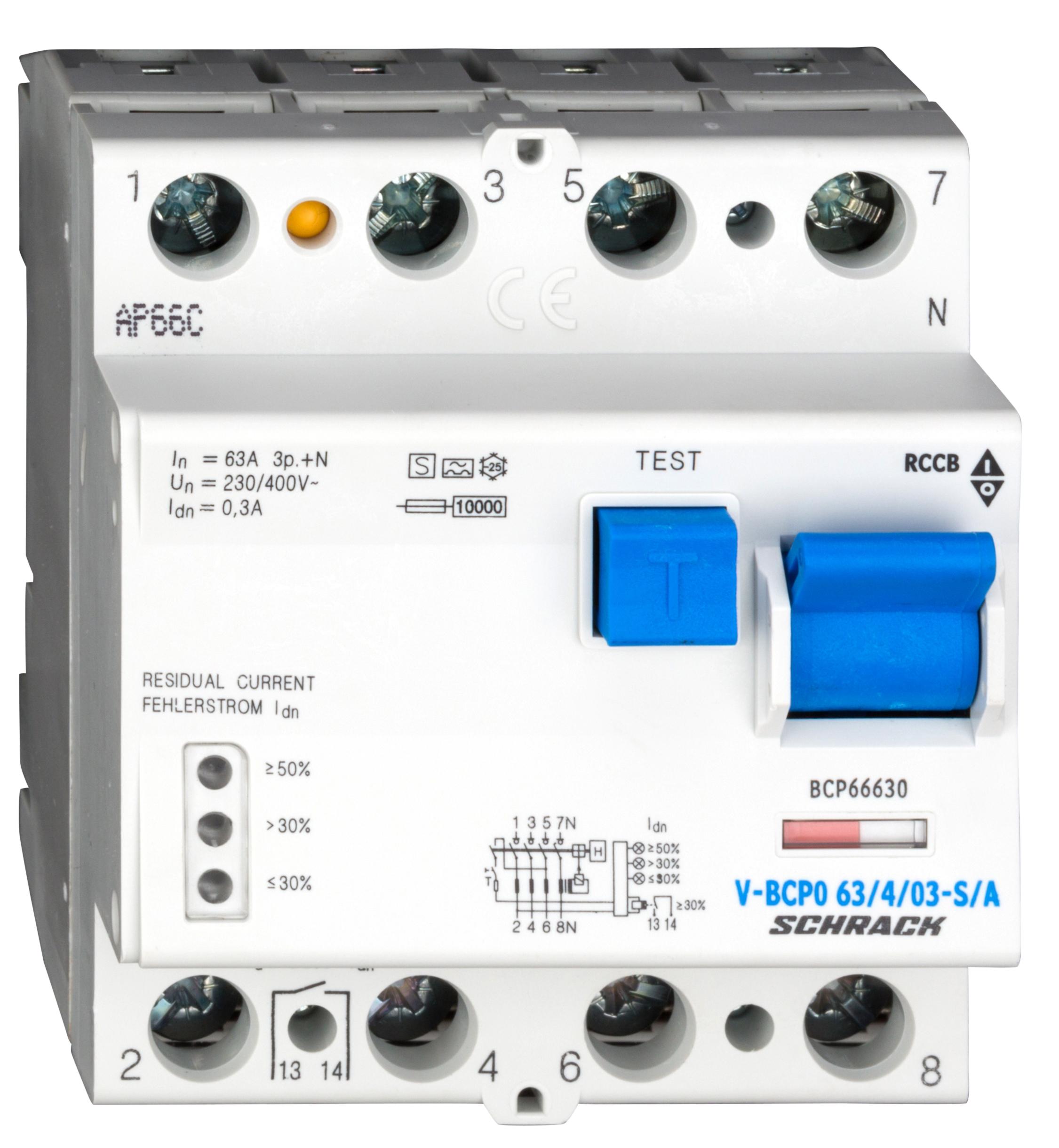 1 Stk PRIORI FI-Schalter 63A, 4-pol, 300mA, vsf, Bauart S, Typ A BCP66630--