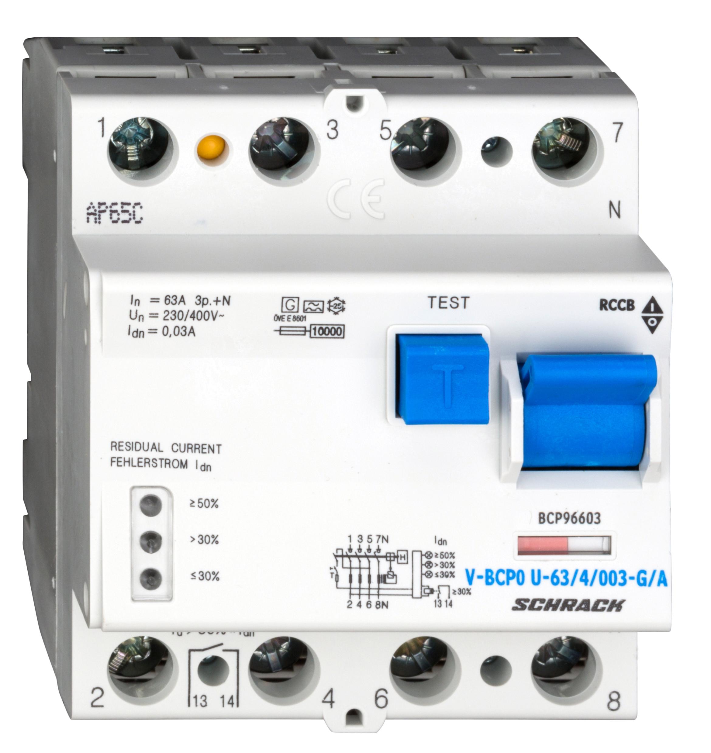 1 Stk PRIORI FI-Schalter 63A, 4-pol, 30mA, vsf, G, Typ A, FU-fest BCP96603--