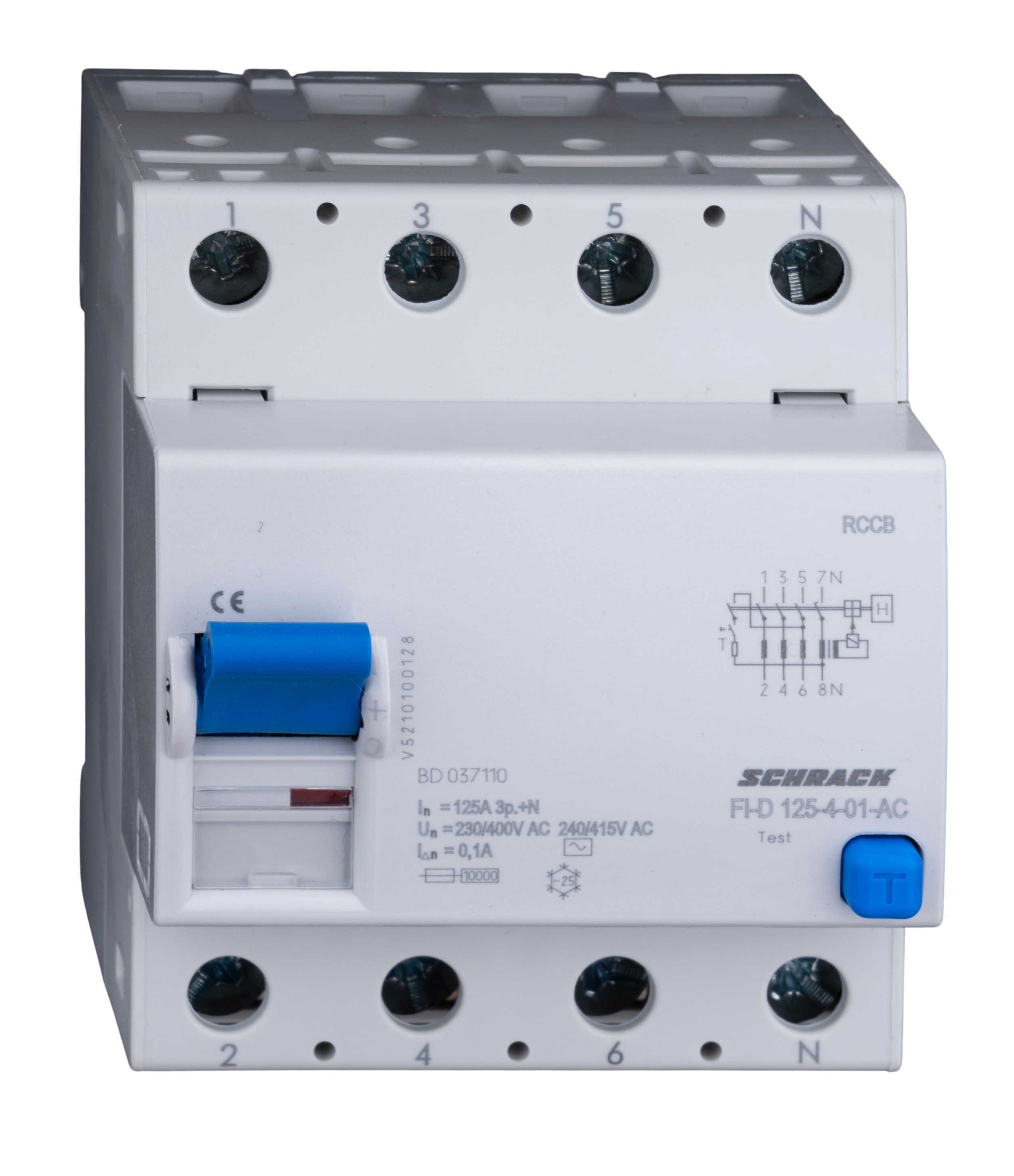 1 Stk FI-Schalter 125A, 4-polig, 100mA, Typ AC BD037110-A