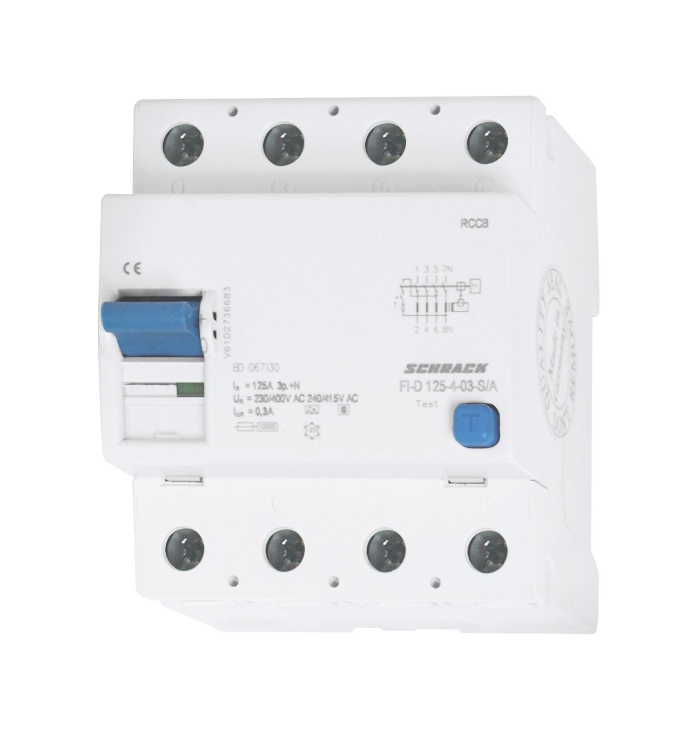 1 Stk FI-Schalter 125A, 4-polig, 300mA, Bauart S, Typ A (Puls) BD067130-A