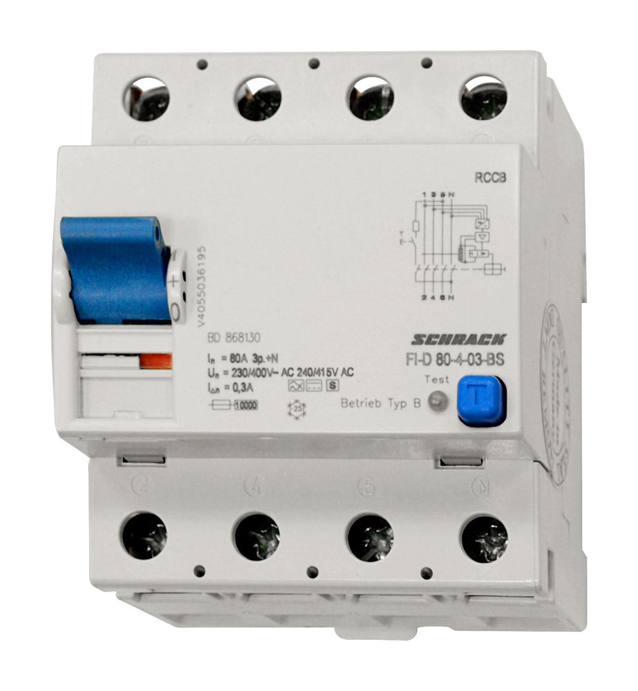 1 Stk Selektiver FI-Schalter 80A, 4-polig, 300mA, Typ Bs BD868130--