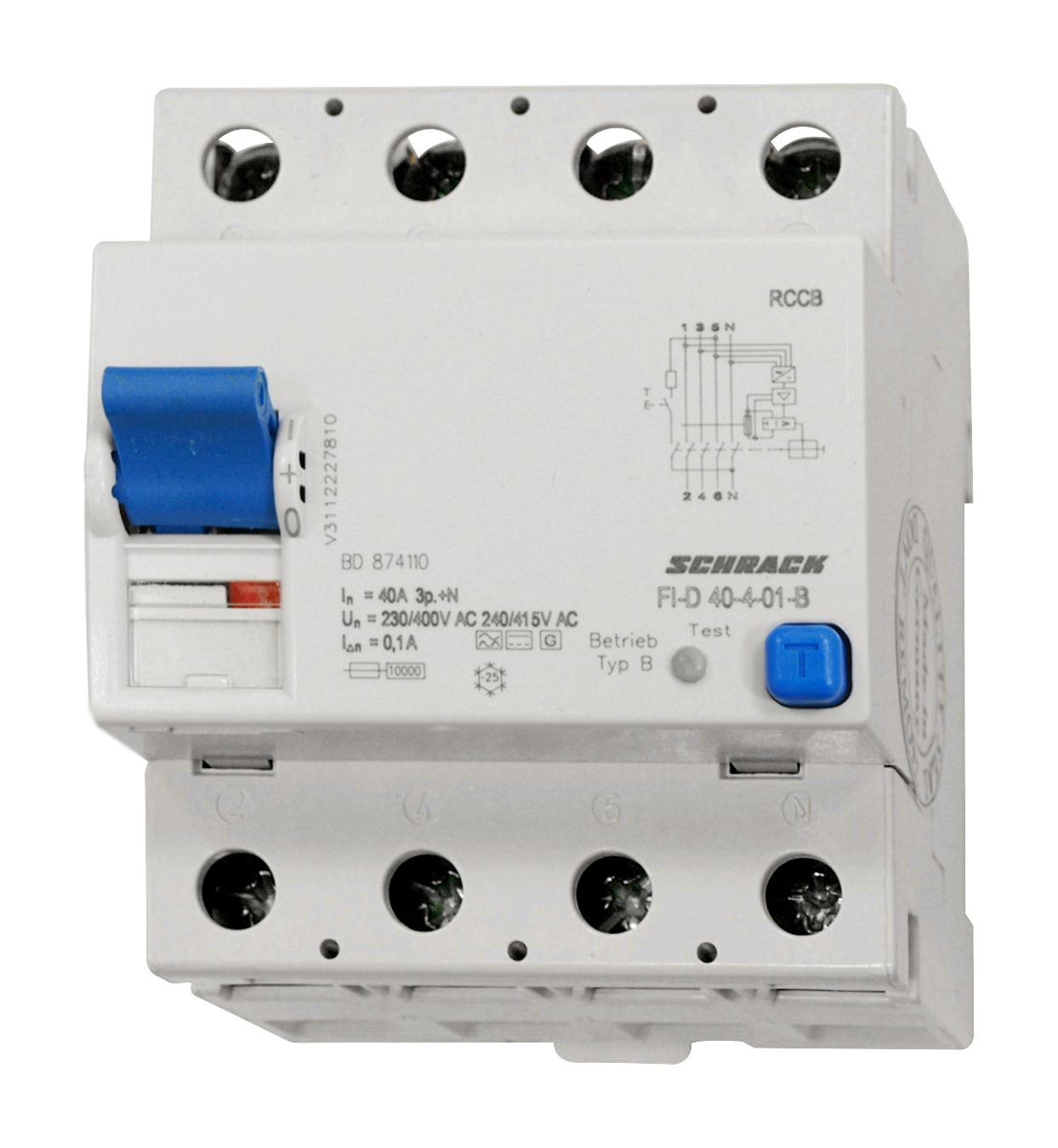 1 Stk Allstromsensitiver FI-Schalter 40A, 4-polig, 100mA, Typ B BD874110--