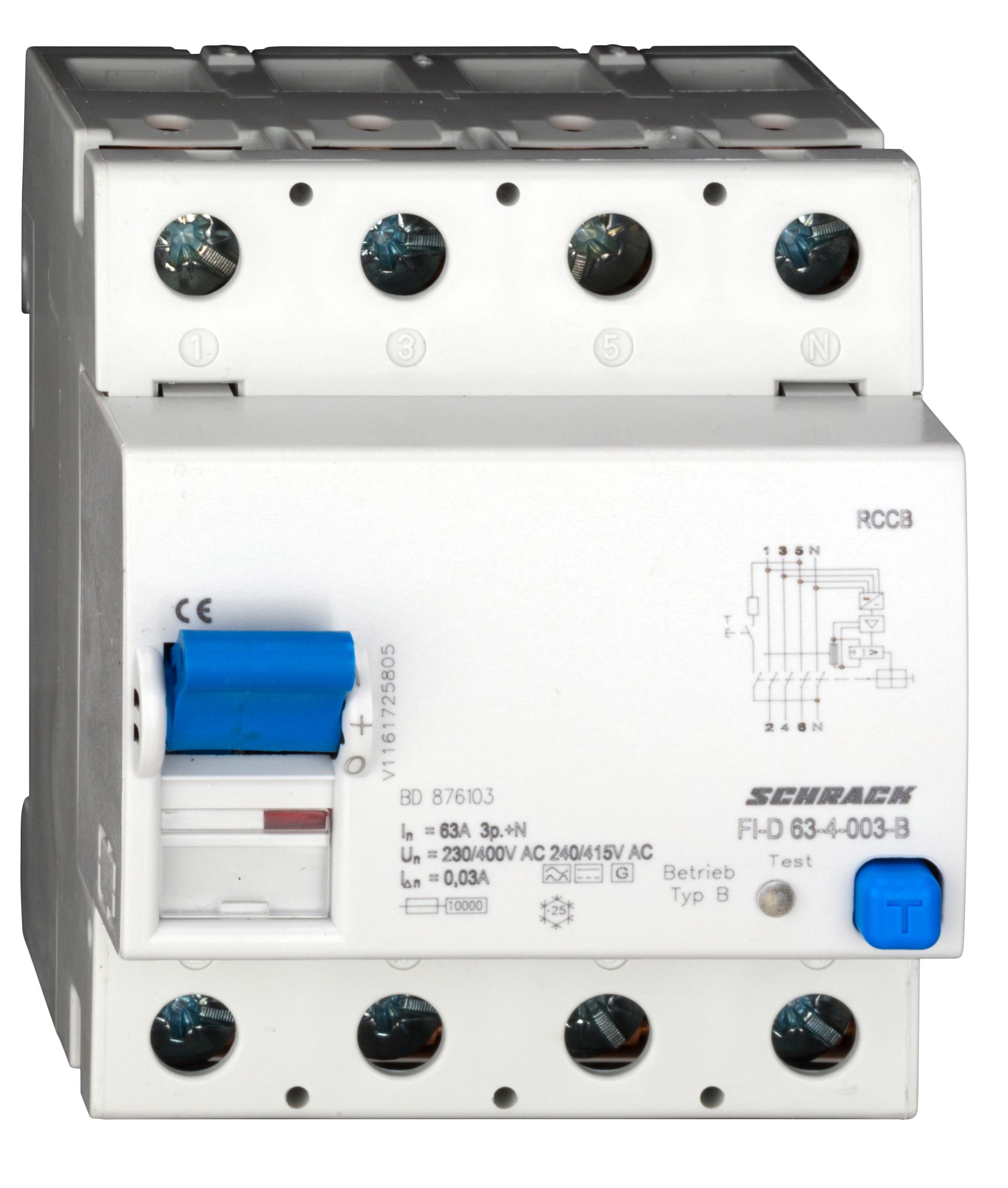 1 Stk Allstromsensitiver FI-Schalter 63A, 4-polig, 30mA, Typ Bfq,G BD876103--