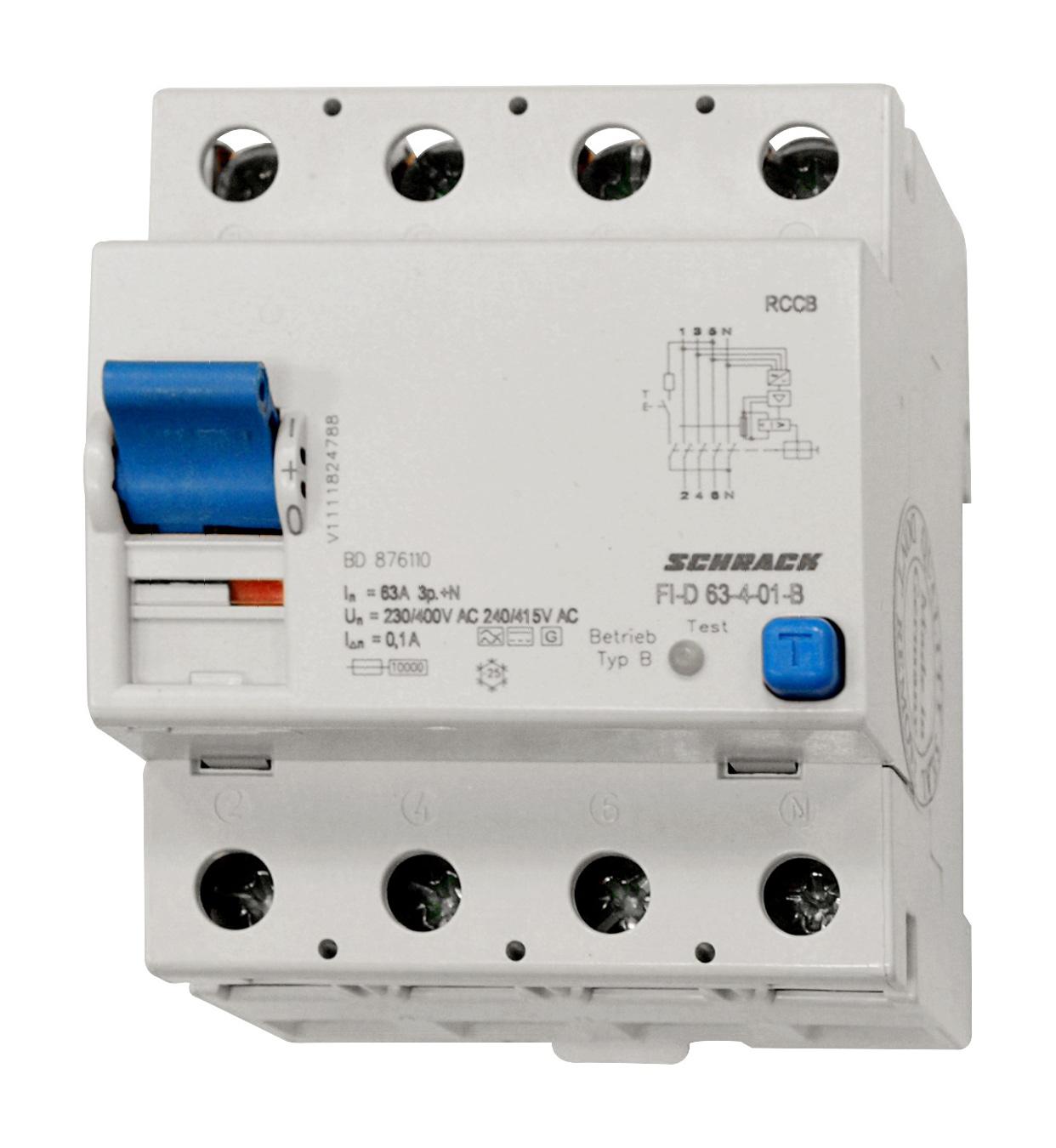 1 Stk Allstromsensitiver FI-Schalter 63A, 4-polig, 100mA, Typ B BD876110--