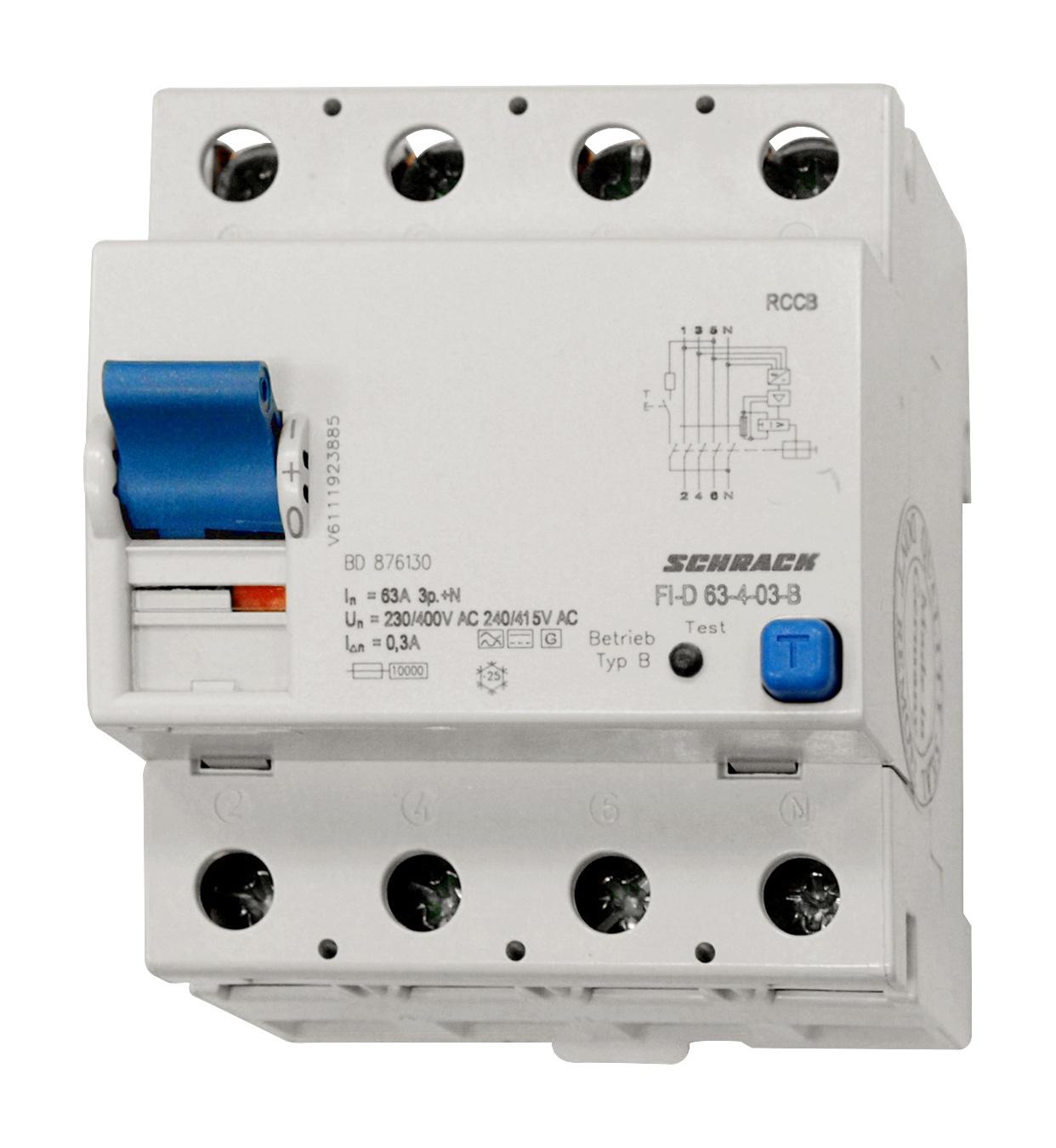 1 Stk Allstromsensitiver FI-Schalter 63A, 4-polig, 300mA, Typ B BD876130--