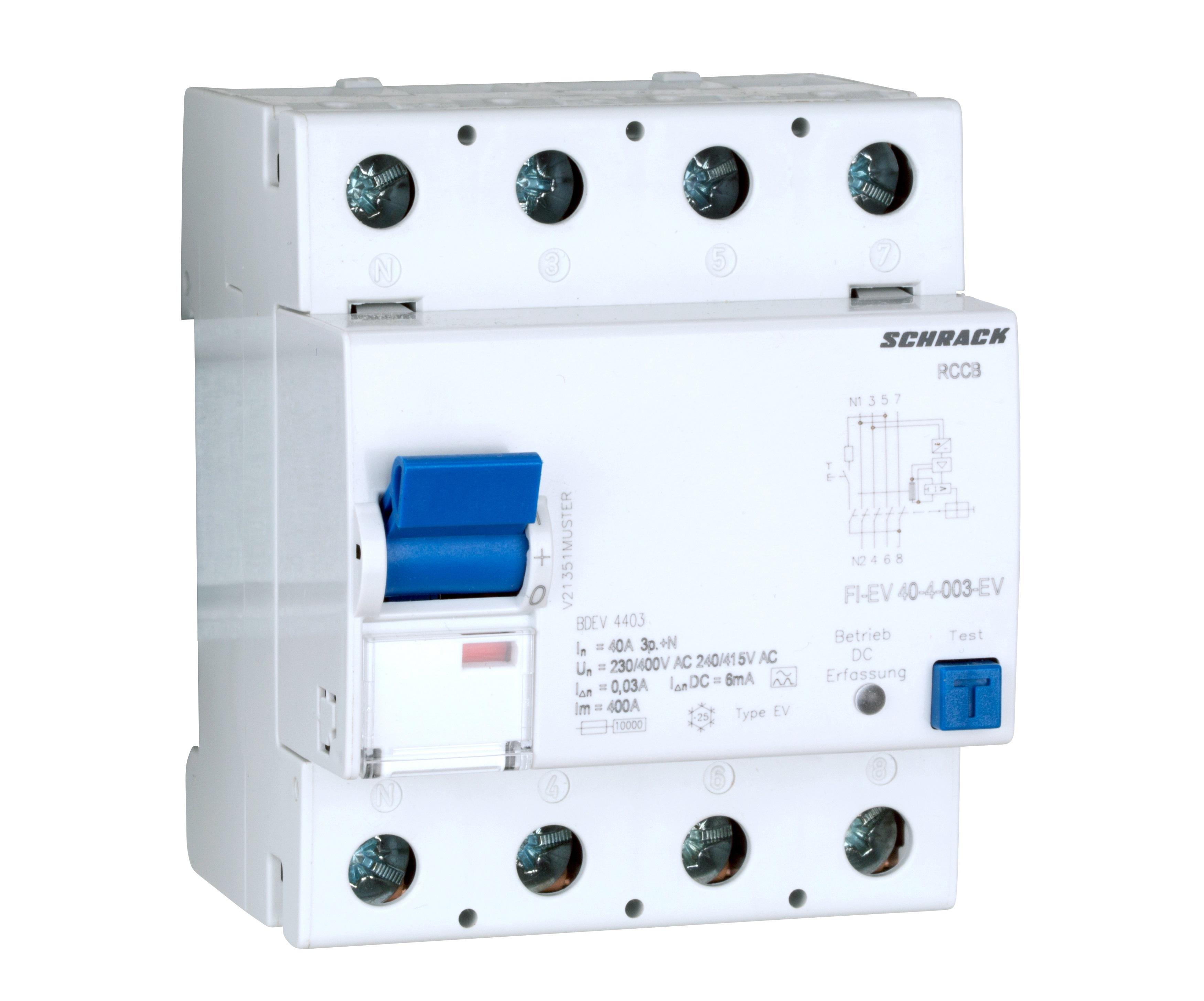 1 Stk FI-Schalter 40A, 4-polig, 30mA, Typ EV, für Elektrofahrzeuge BDEV4403--
