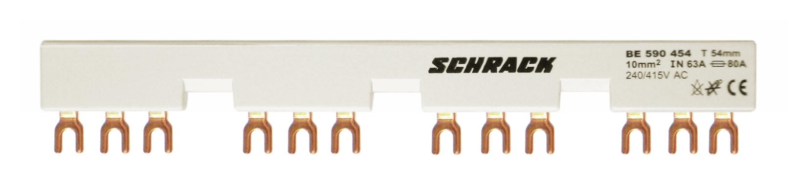 1 Stk Verschienung für 4xBE5+Hilfskontakt 54mm Gabel 63A BE590454--