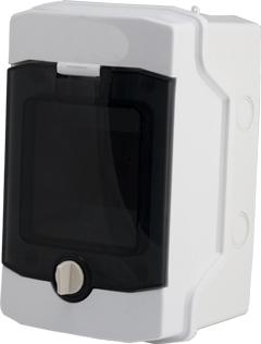1 Stk AP-Wohnungsverteiler 1-reihig, 4TE, IP65, transparente Tür BK080200--