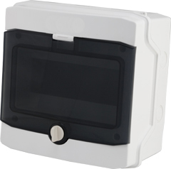 1 Stk AP-Wohnungsverteiler 1-reihig, 8TE, IP65, transparente Tür BK080201--