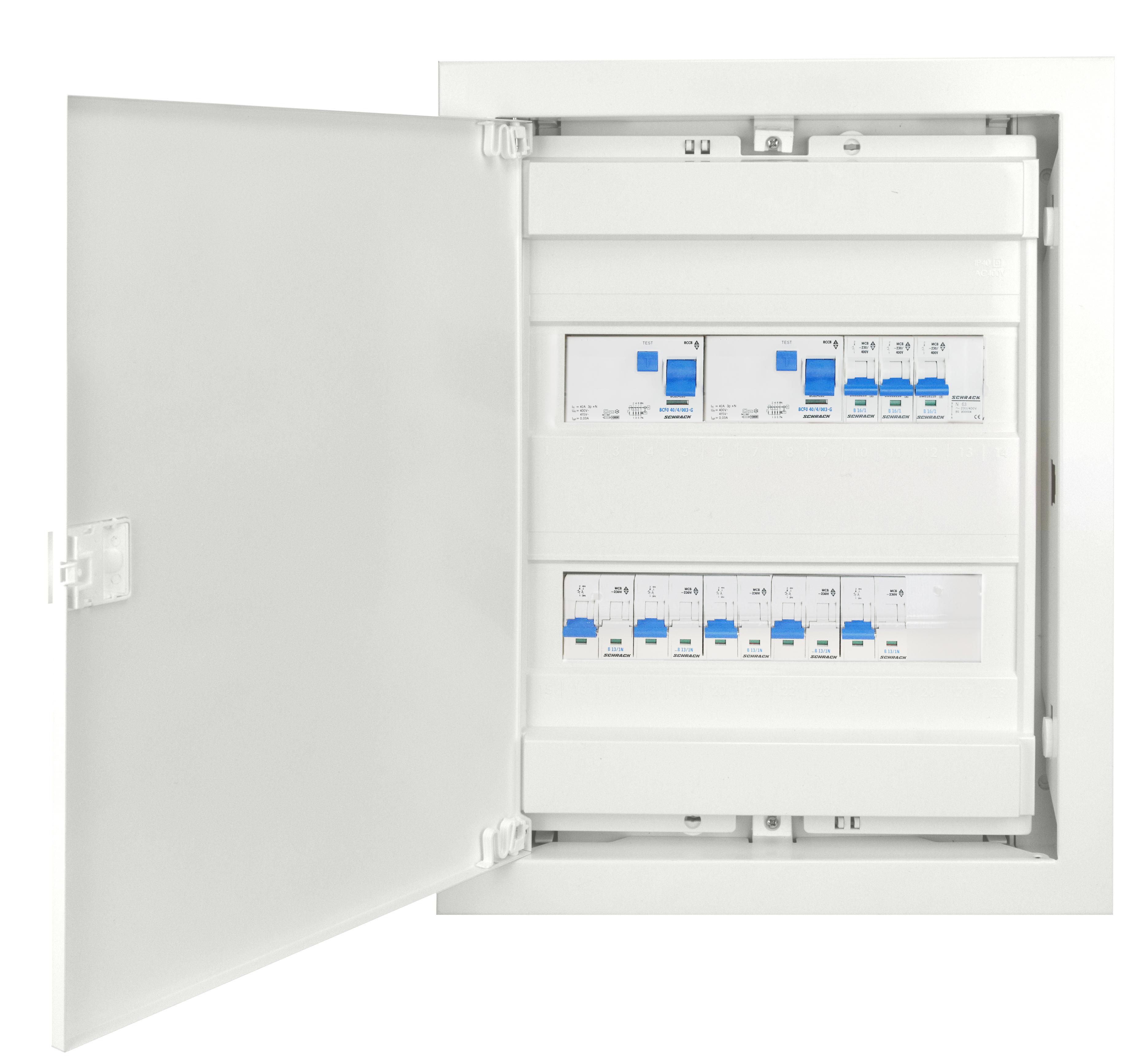 1 Stk UP-Wohnungsverteiler 2-r. mit FI S, Typ A & FI G, Typ AC BKUP400SG-