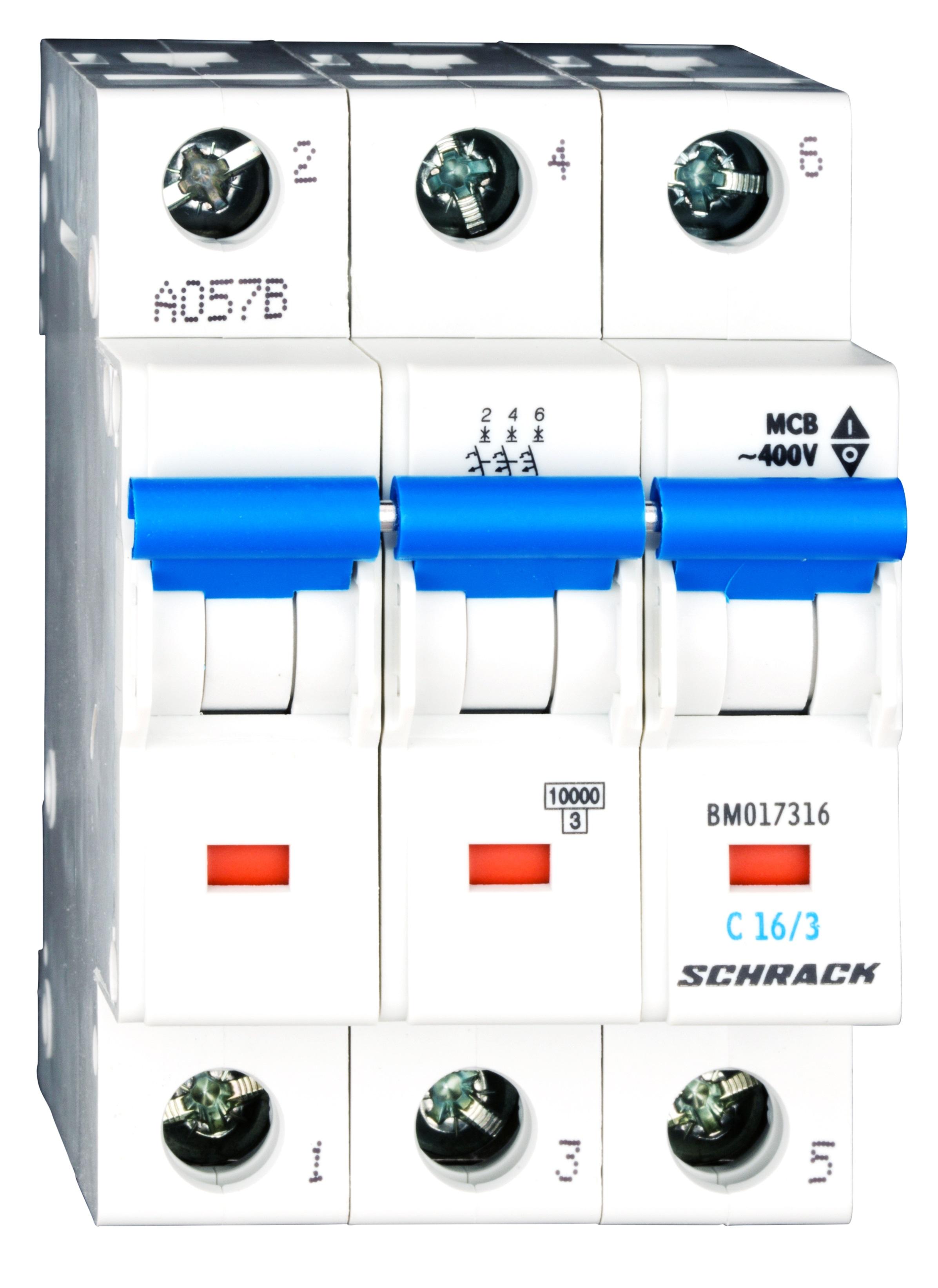 1 Stk Sicherungsautomat, Kennlinie C, 16A, 3-polig, 10kA BM017316--