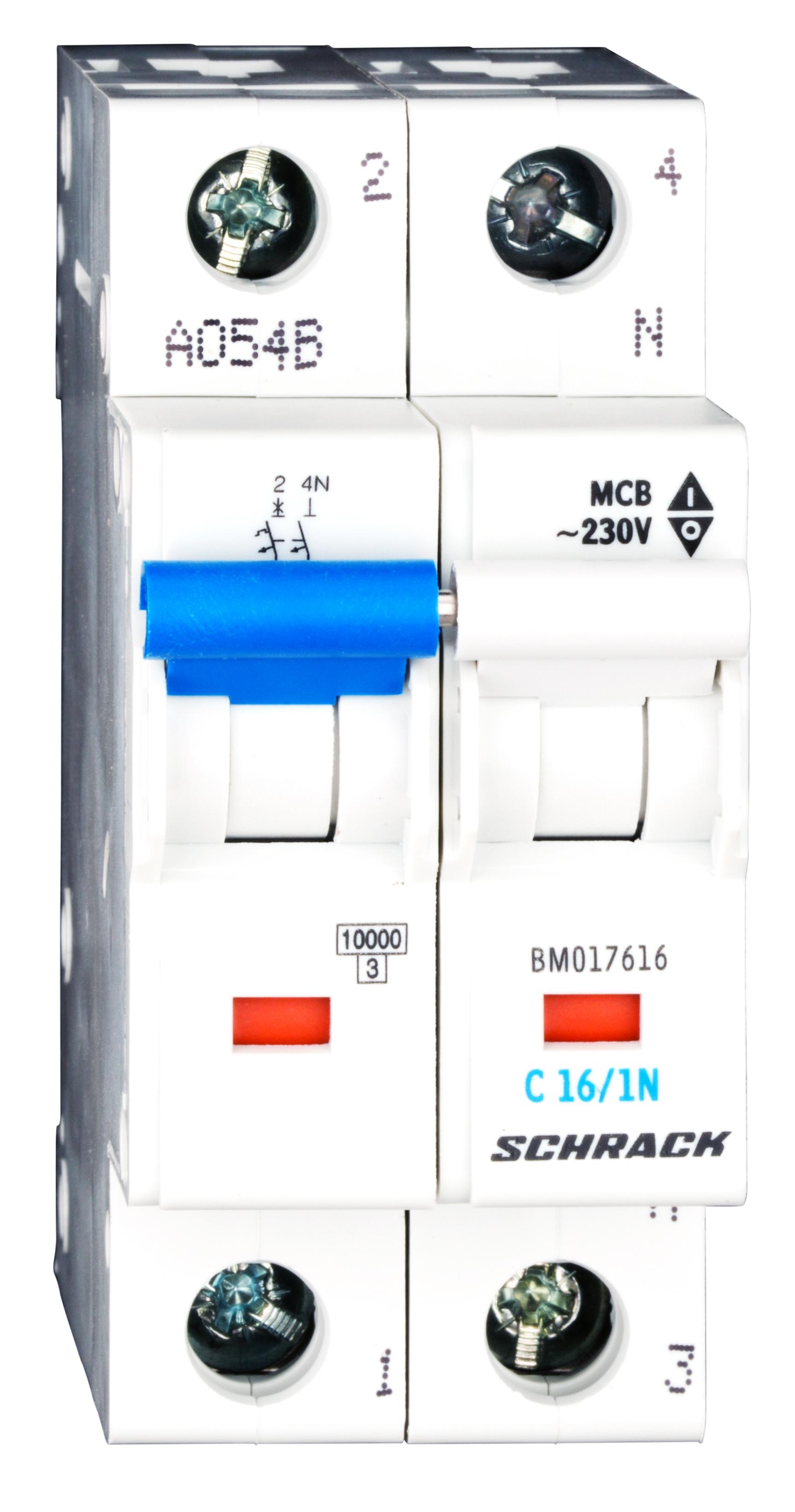 1 Stk Sicherungsautomat, Kennlinie C, 16A, 1-polig+N, 10kA BM017616--