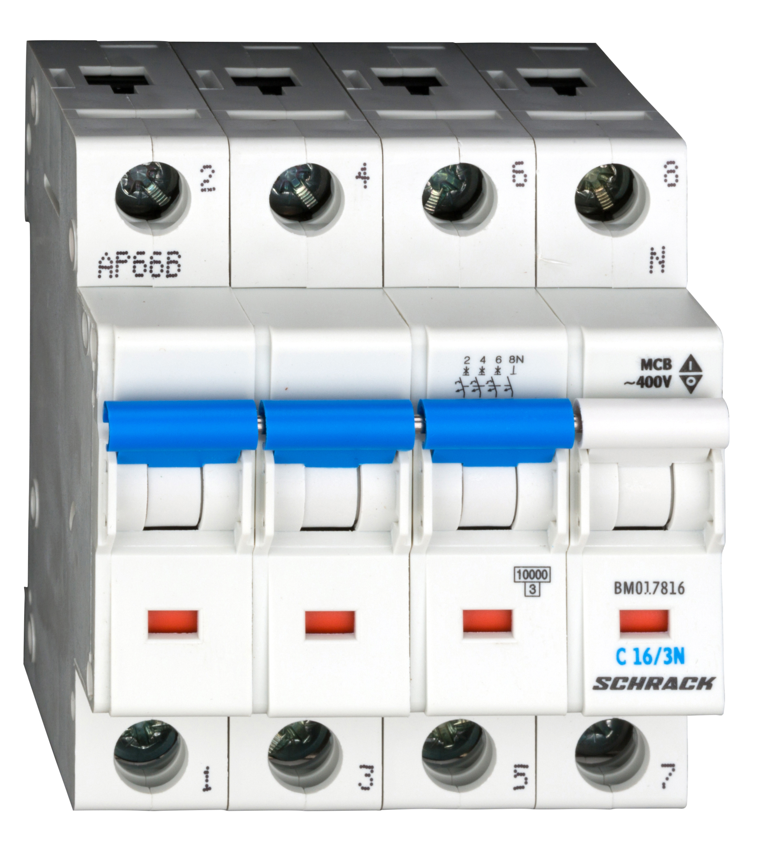 1 Stk Sicherungsautomat, Kennlinie C, 16A, 3-polig+N, 10kA BM017816--
