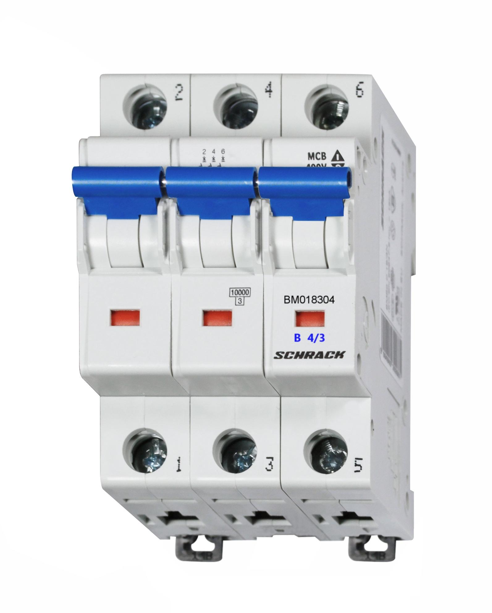 1 Stk Sicherungsautomat, Kennlinie B, 4A, 3-polig, 10kA BM018304--