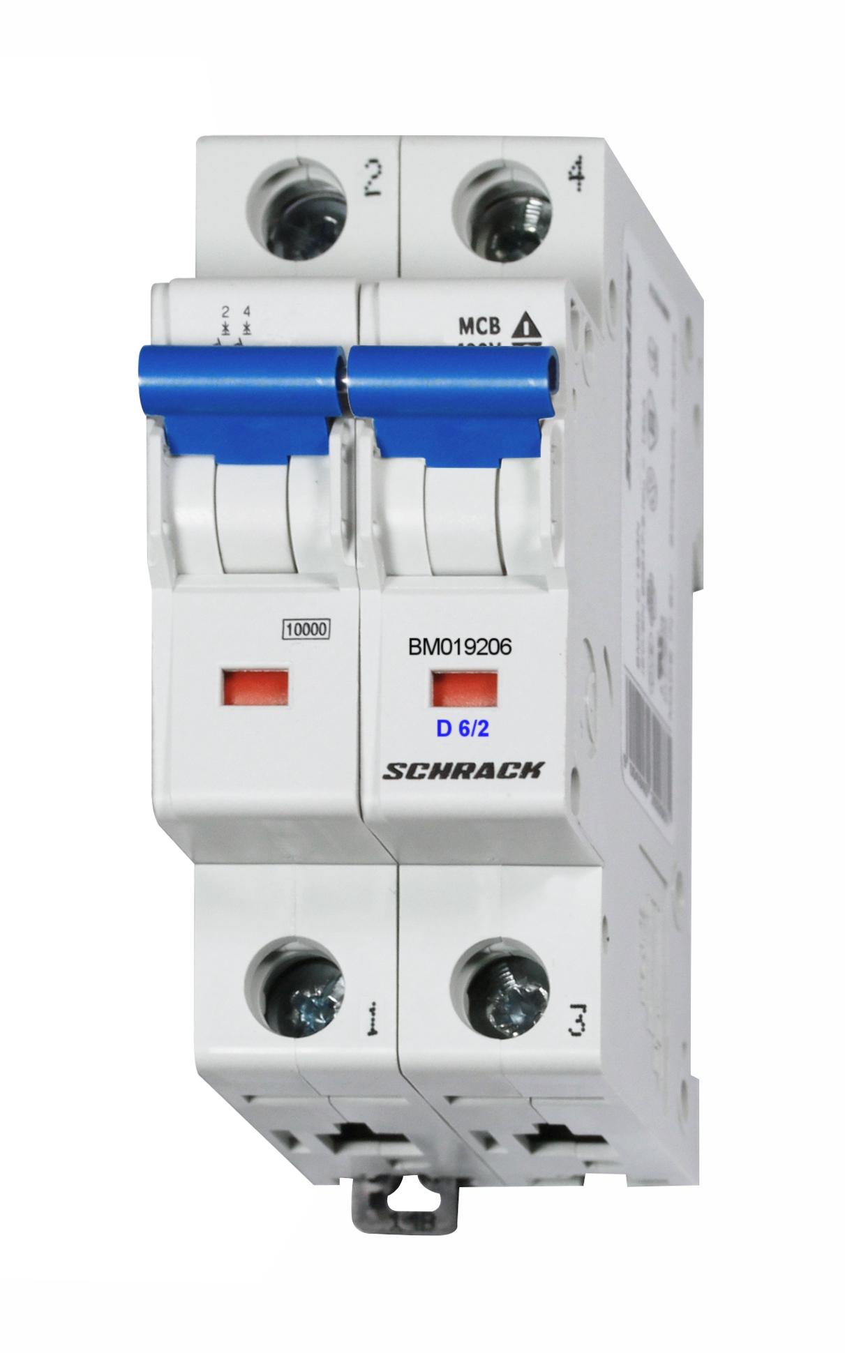 1 Stk Sicherungsautomat, Kennlinie D, 6A, 2-polig, 10kA BM019206--