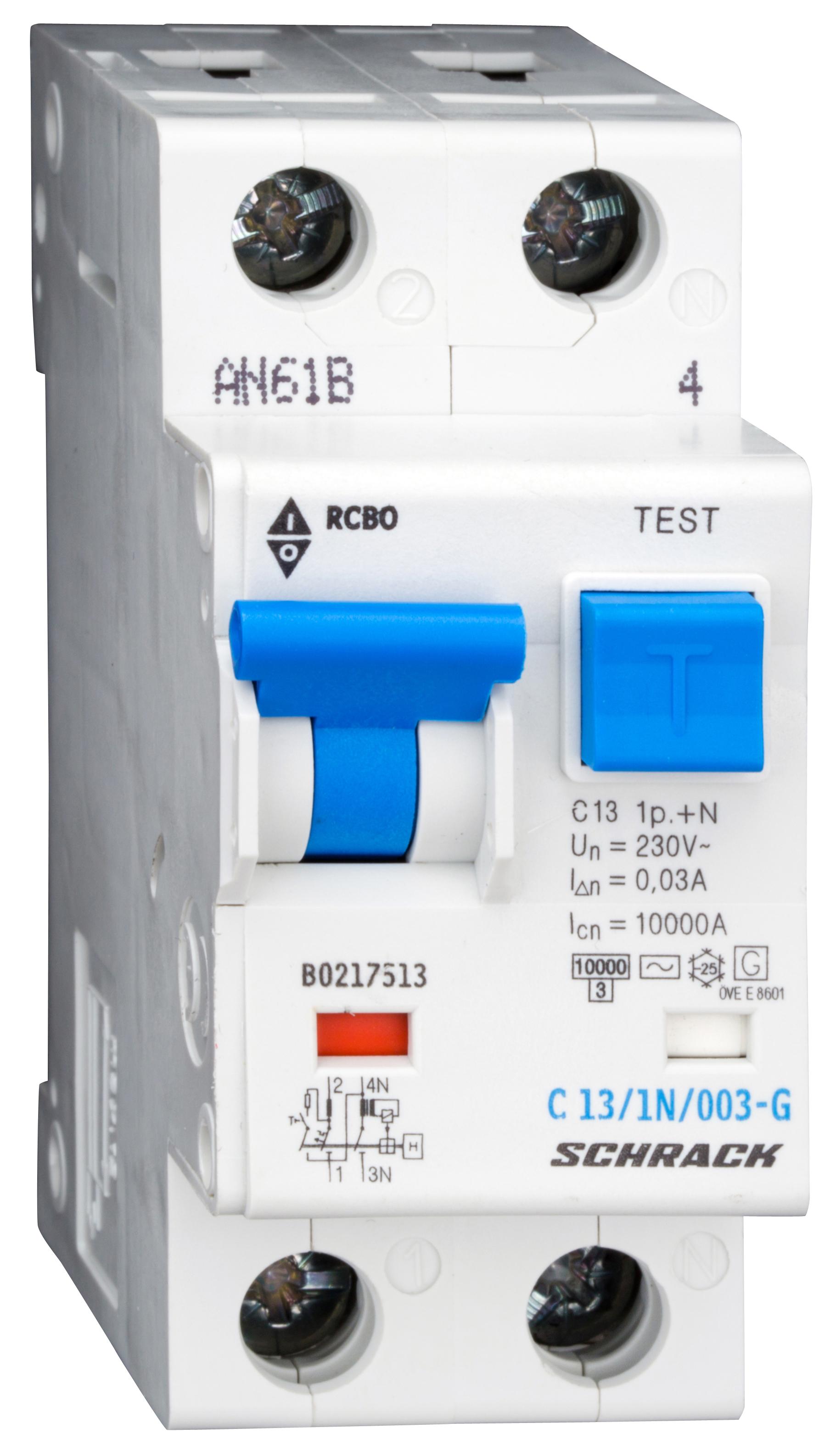 1 Stk LS-FI-Schalter,Kennl. C,13A,30mA,1-polig+N, Bauart G,Typ AC BO217513--