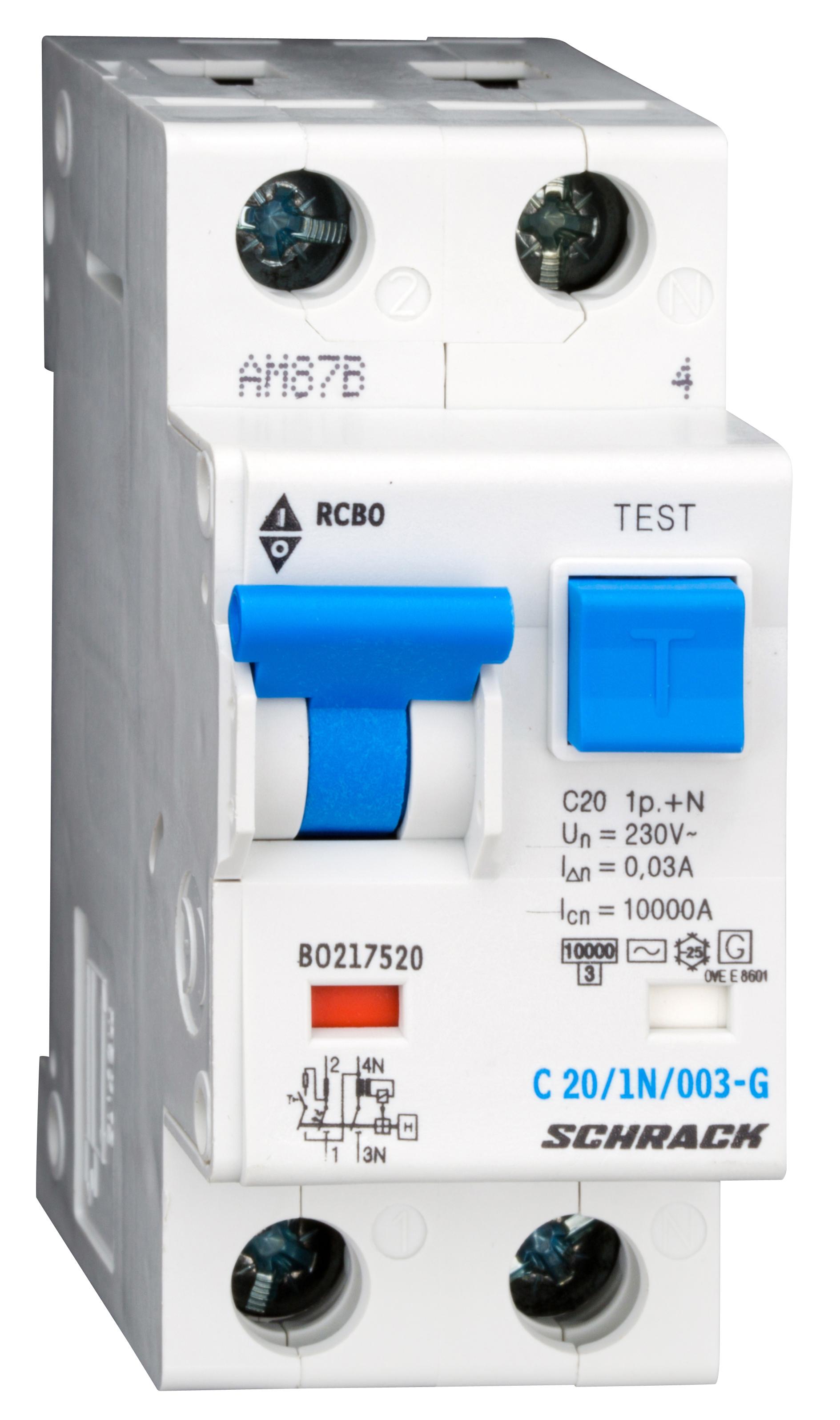 1 Stk LS-FI-Schalter,Kennl. C, 20A,30mA,1-polig+N, Bauart G,Typ AC BO217520--