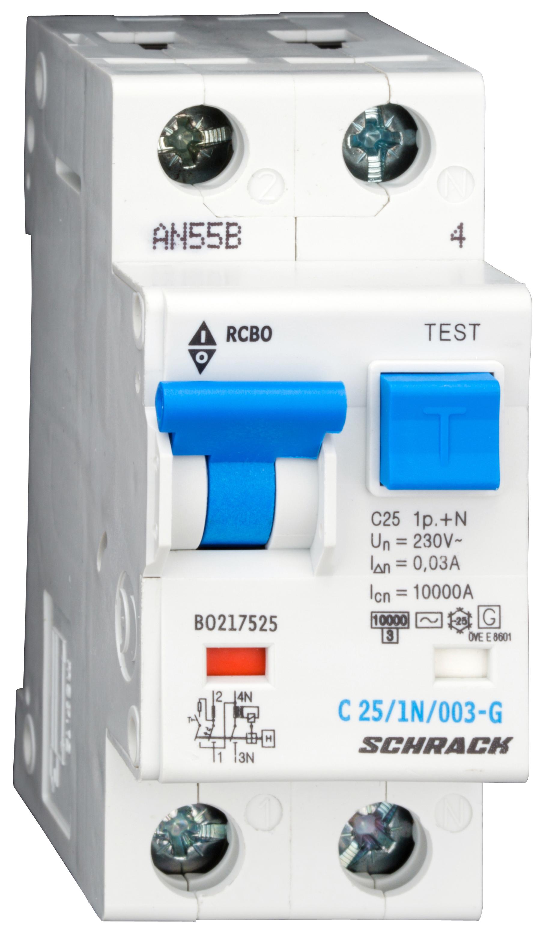 1 Stk LS-FI-Schalter,Kennl. C, 25A,30mA,1-polig+N, Bauart G,Typ AC BO217525--