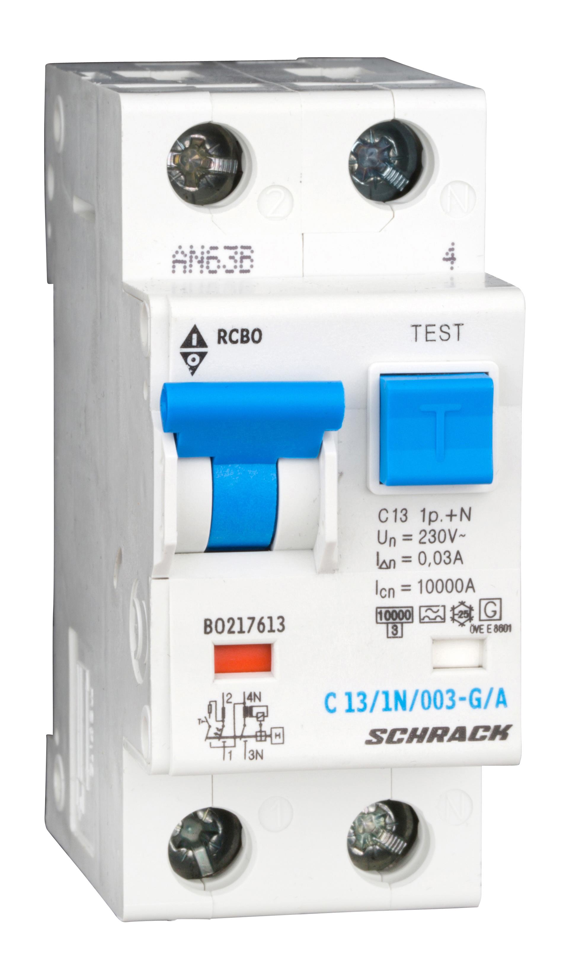 1 Stk LS-FI-Schalter,Kennl. C,13A,30mA,1-polig+N, Bauart G,Typ A BO217613--