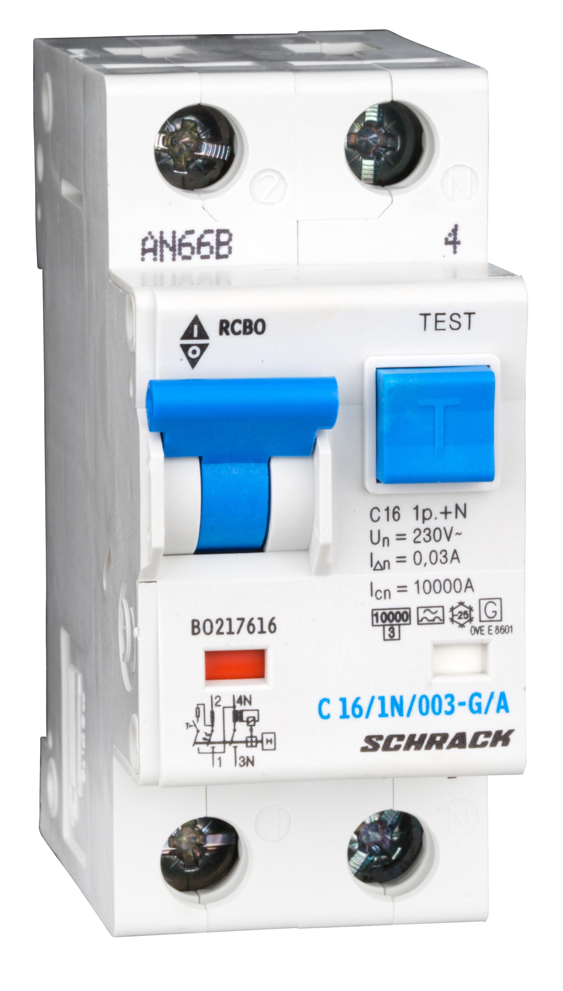 1 Stk LS-FI-Schalter,Kennl. C, 16A,30mA,1-polig+N, Bauart G,Typ A BO217616--