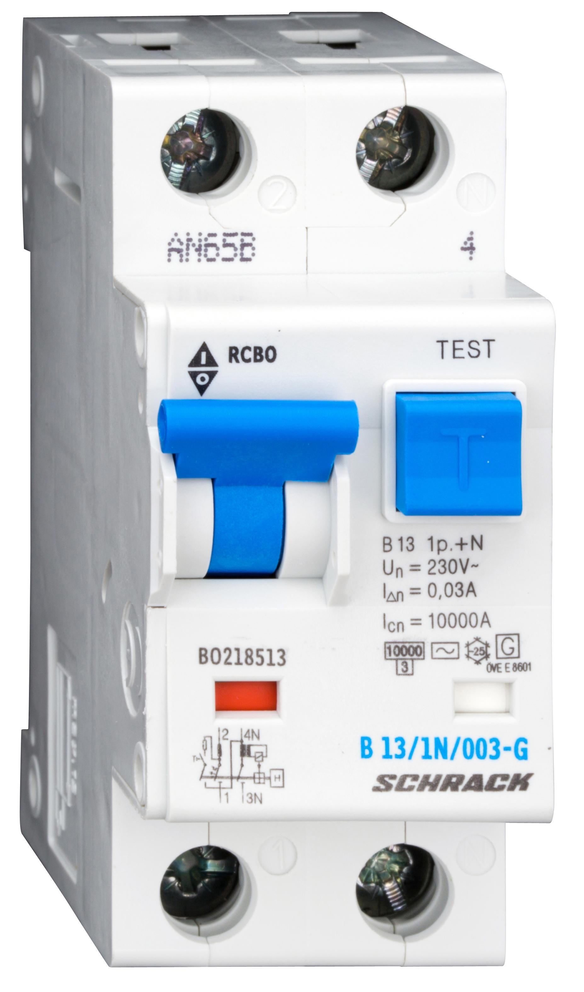 1 Stk LS-FI-Schalter,Kennl. B,13A,30mA,1-polig+N, Bauart G,Typ AC BO218513--