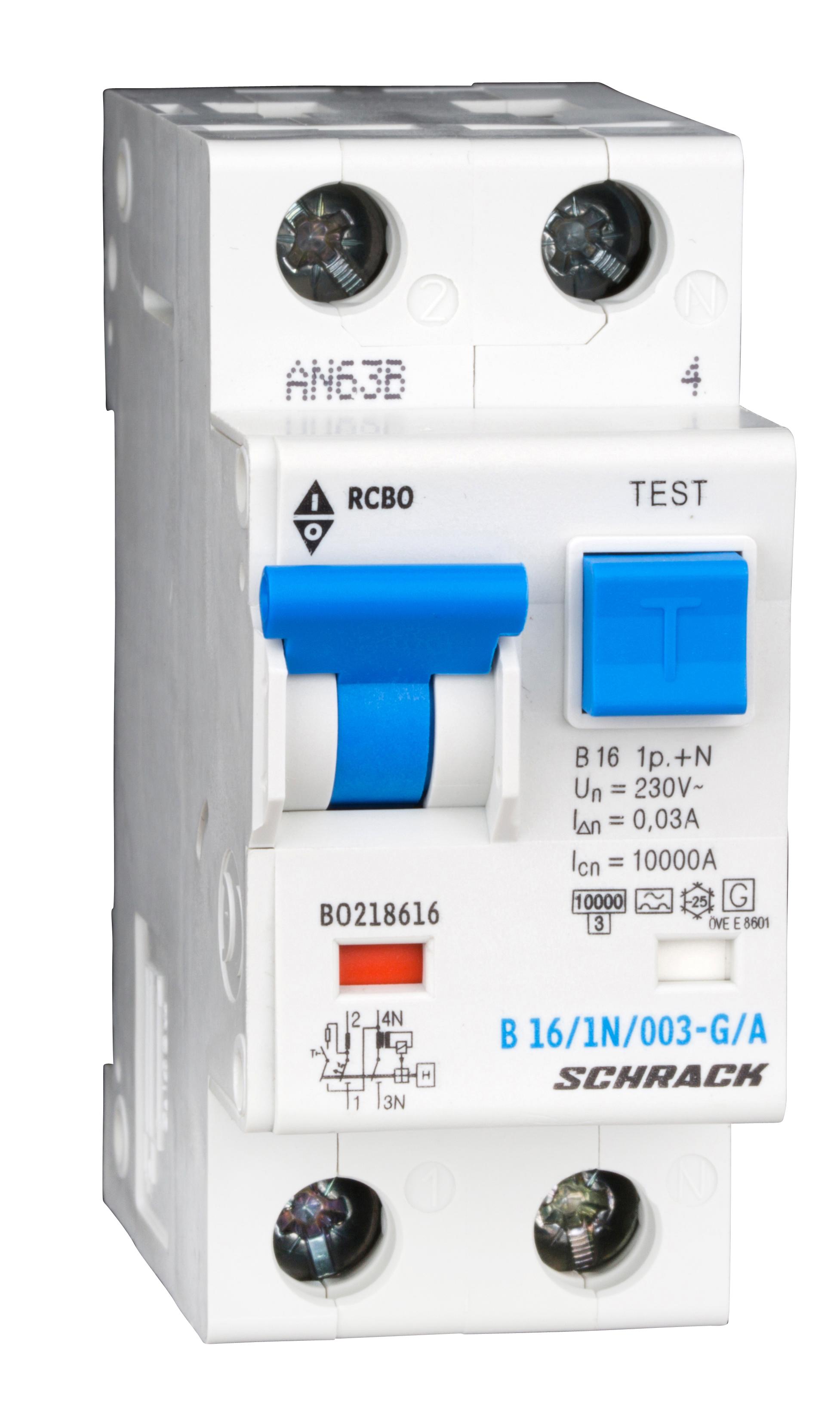 1 Stk LS-FI-Schalter,Kennl. B,16A,30mA,1-polig+N, Bauart G,Typ A BO218616--